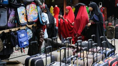 Women in the Somali neighborhood of Eastleigh browse goods imported from China and elsewhere.