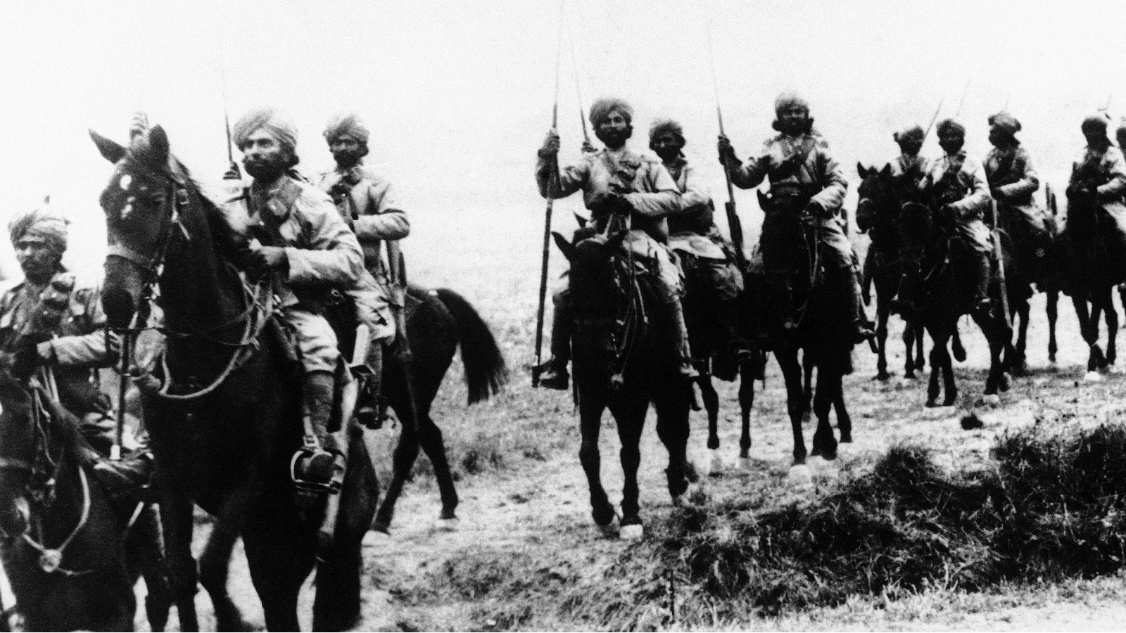 Britain's famous Indian cavalry moving up into the round of action shortly after their arrival on the Western front in an undated photo.
