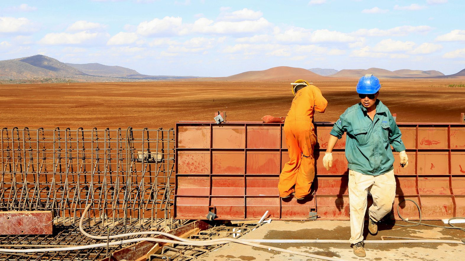 A Chinese construction engineer works at a section of the Mombasa-Nairobi standard gauge railway (SGR) at Emali in Kenya October 10, 2015. Picture taken October 10, 2015.