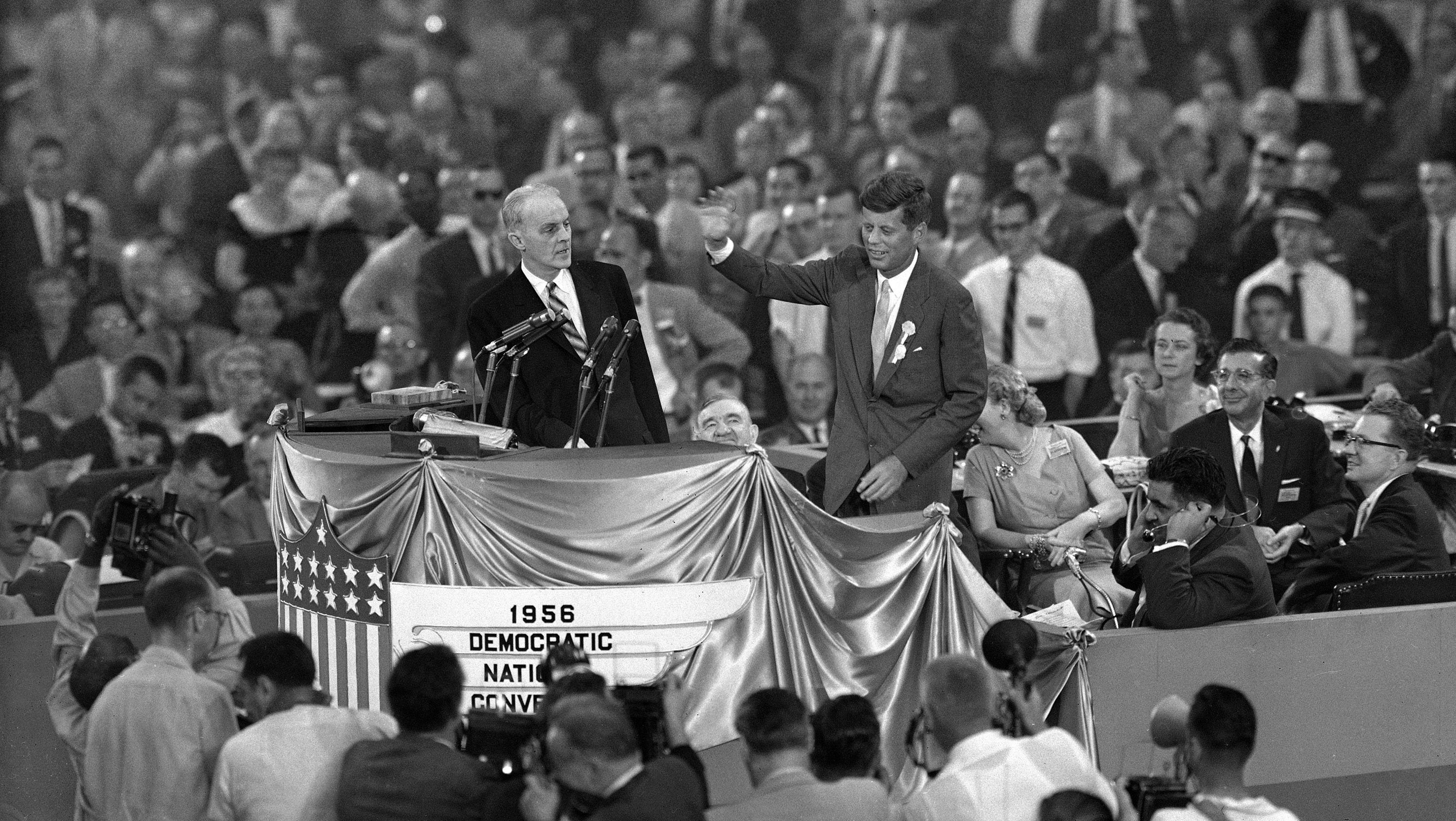 Then Sen. John F. Kennedy of Massachusetts appears at the Democratic National Convention in Chicago in 1956.