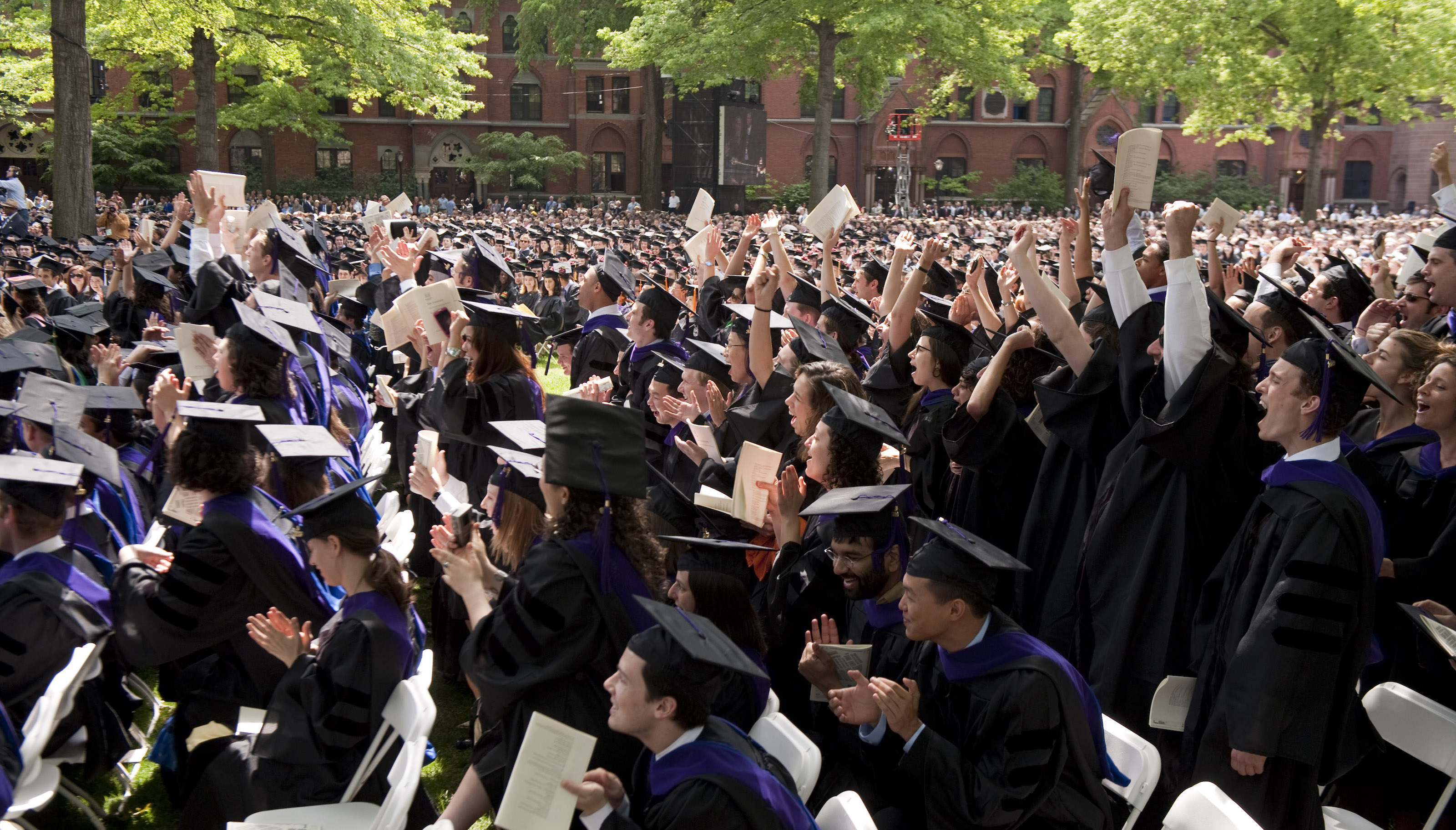 Graduates of the Law School celbrate during Yale Commencement in New Haven, Conn. Monday May 25, 2009. (AP Photo/Douglas Healey).