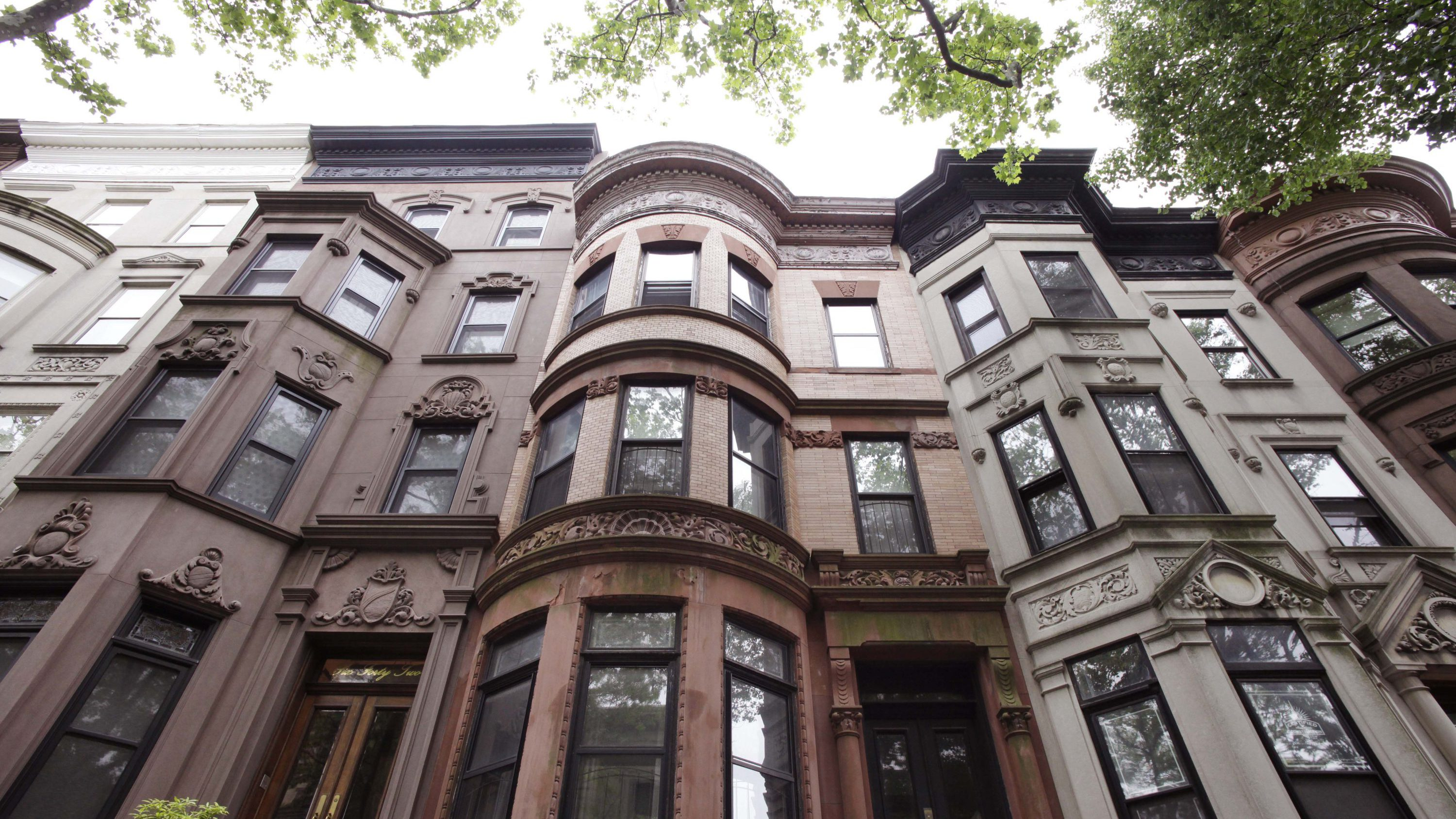 This brownstone townhouse, center, is located at 640 2nd St. in the Park Slope neighborhood of Brooklyn, N.Y., Thursday, May 3, 2012. It is on the block between Prospect Park West and Eighth Ave.