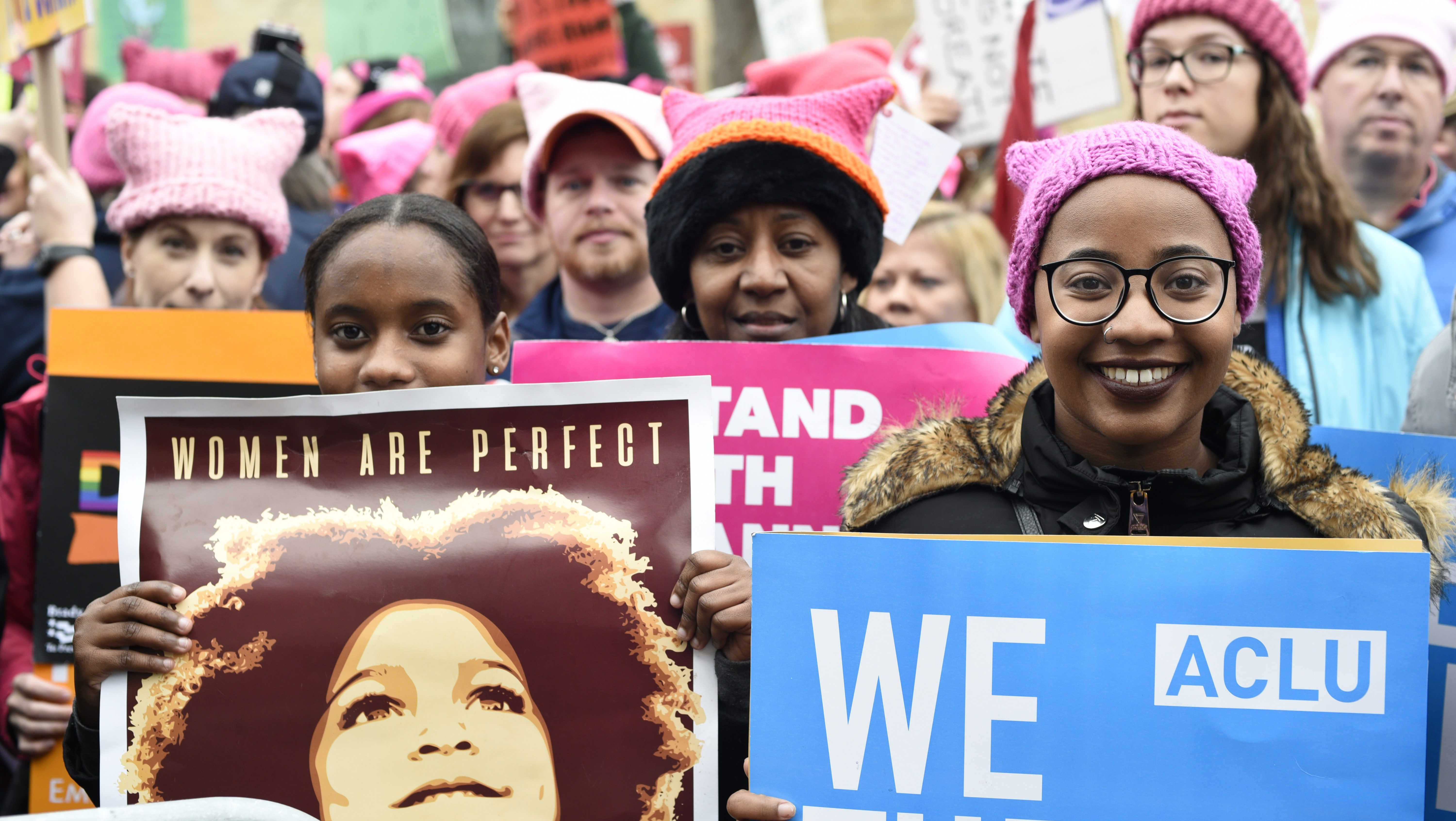 Participants attend the Women's March on Washington on Independence Ave. on Saturday, Jan. 21, 2017 in Washington, on the first full day of Donald Trump's presidency.  Thousands are massing on the National Mall for the Women's March, and they're gathering, too, in spots around the world.  (AP Photo/Sait Serkan Gurbuz)
