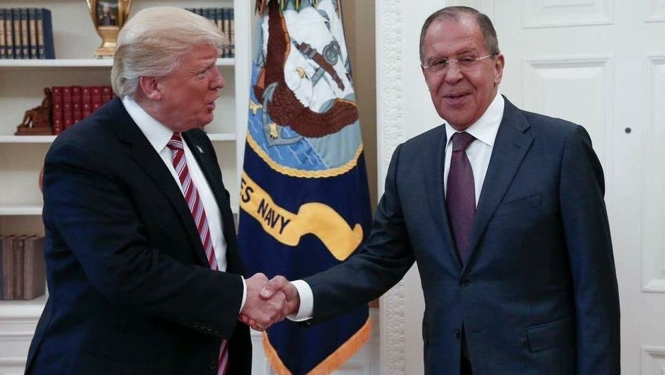 This handout photo released by the Russian Ministry of Foreign Affairs, shows President Donald Trump meeting with Russian Foreign Minister Sergey Lavrov in the Oval Office of the White House in Washington, Wednesday, May 10, 2017. The Washington Post is reporting that Trump revealed highly classified information about Islamic State militants to Russian officials during a meeting at the White House last week. The newspaper cites current and former U.S. officials who say Trump jeopardized a critical source of intelligence on IS in his conversations with the Russian foreign minister and the Russian ambassador to the U.S. They say Trump offered details about an IS terror threat related to the use of laptop computers on aircraft.(Russian Foreign Ministry via AP)
