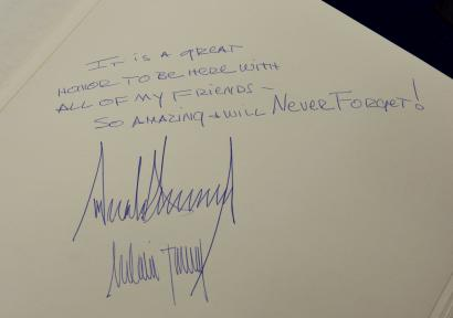 the message written in the yad vashem holocaust museum guestbook by us president donald trump and