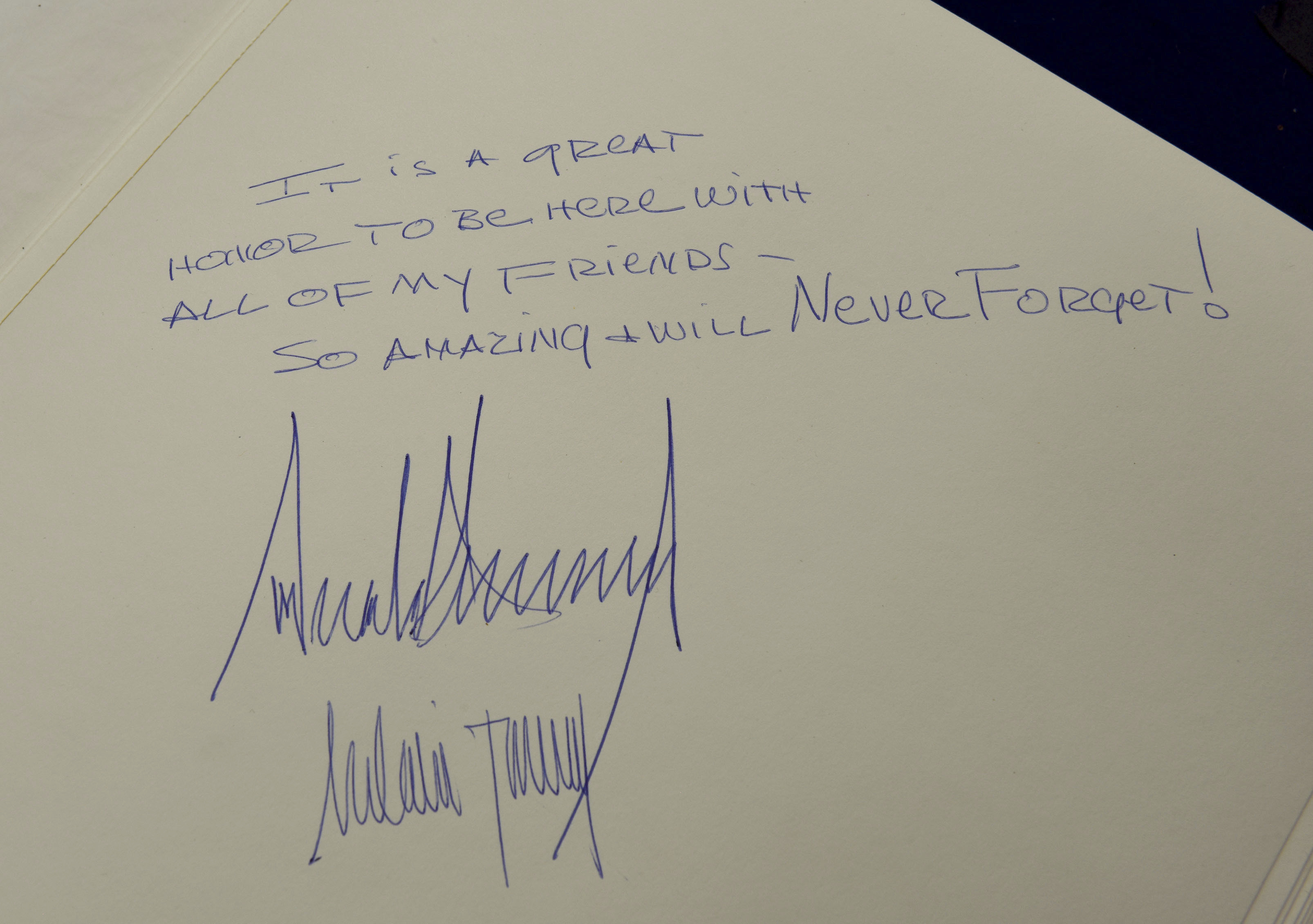 The message written in the Yad Vashem Holocaust Museum guestbook by U.S. President Donald Trump and his wife Melania, in Jerusalem, Israel, Tuesday, May 23, 2017.