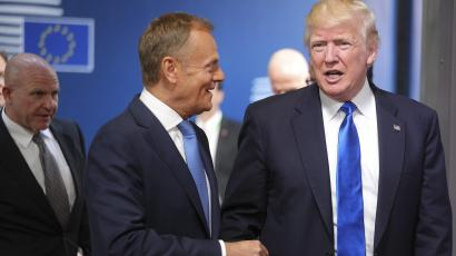 Trump met EU Council president Donald Tusk—a Pole who has been long concerned with Russian meddling—ahead of today's NATO summit.