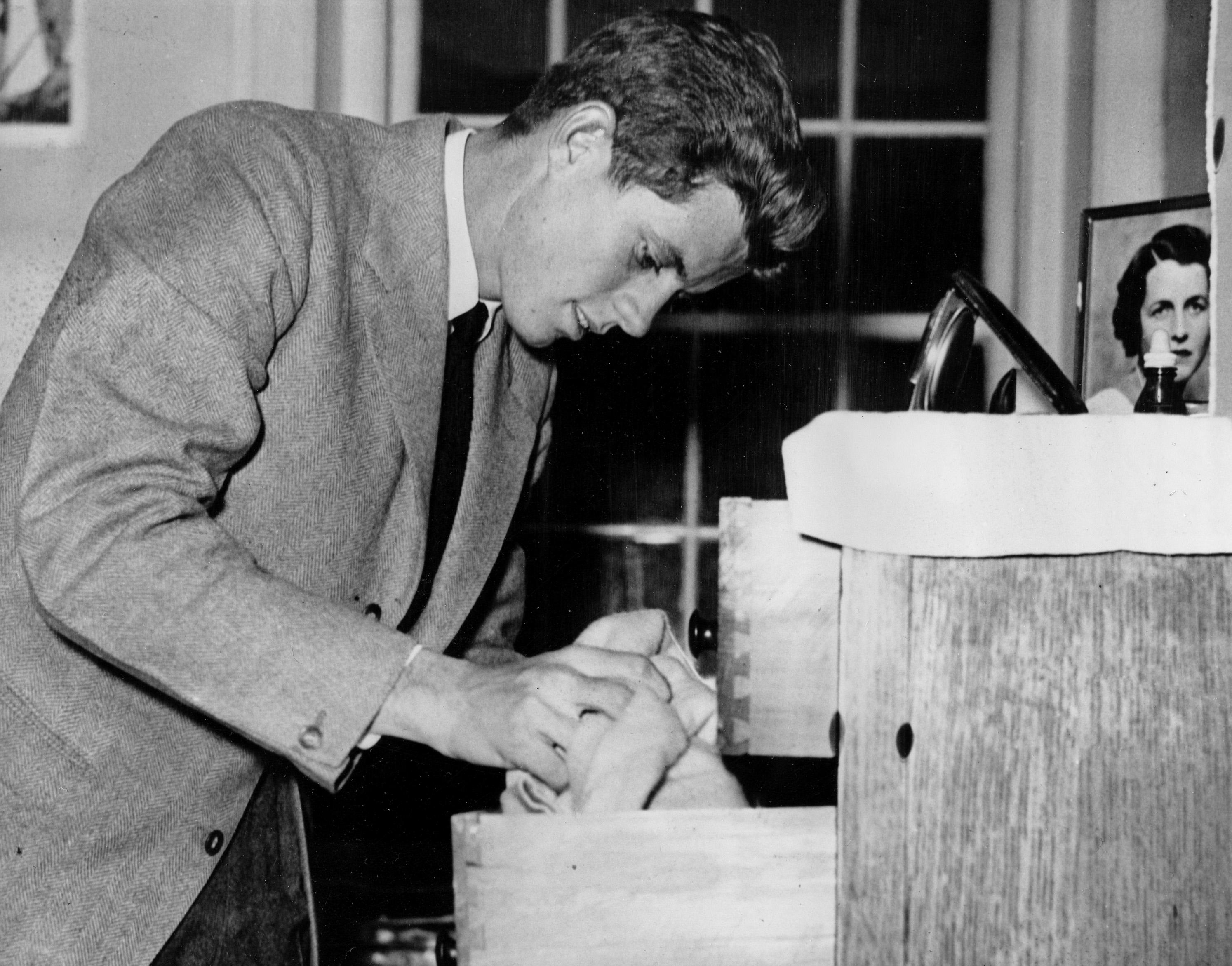 John F. Kennedy, in his junior year at Harvard University, is shown at Harvard's Winthrop House in Cambridge, Ma., Jan. 24, 1939.