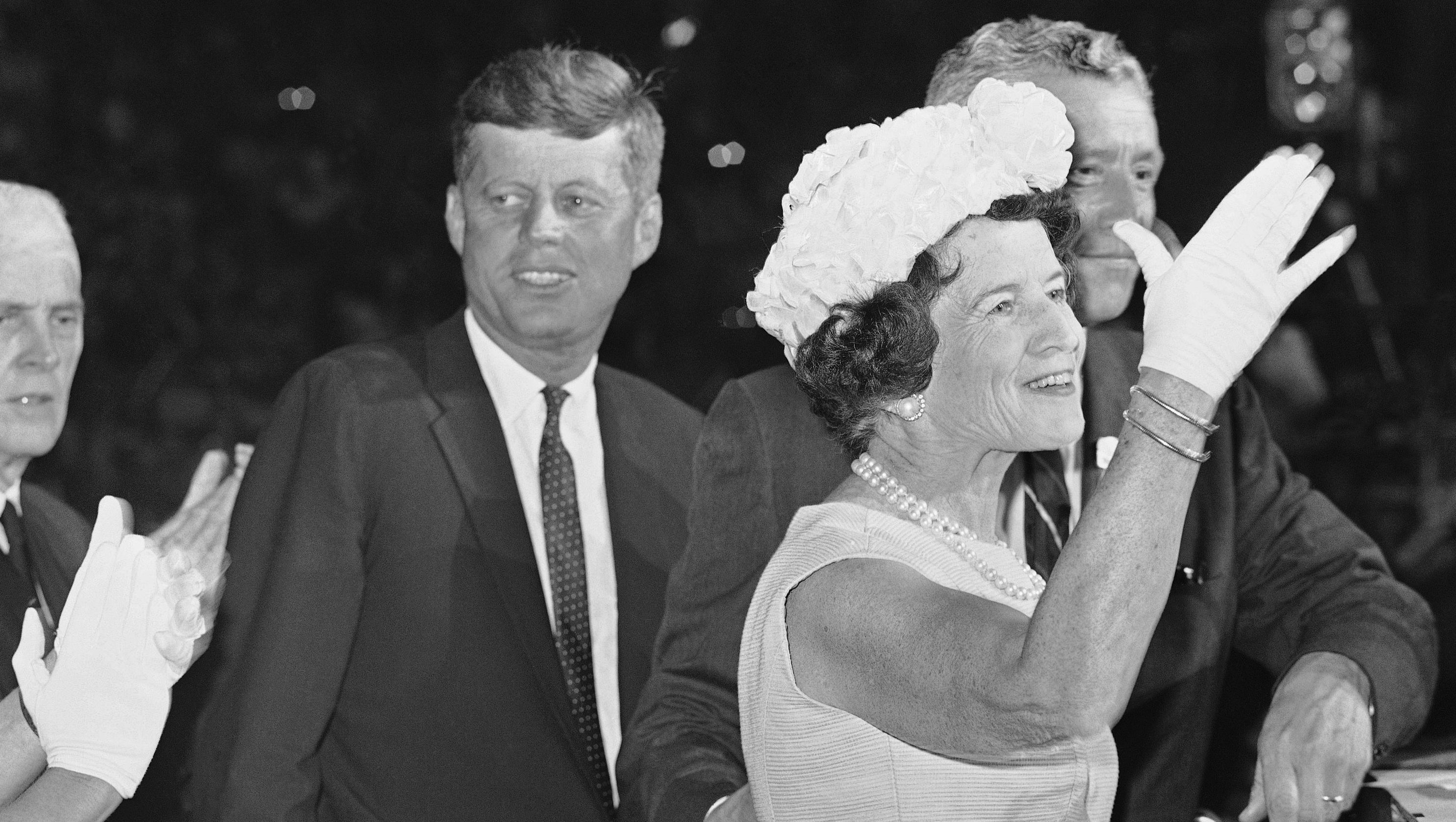 Mrs. Joseph P. Kennedy waves to delegates at the democratic national convention in Los Angeles at night on July 13, 1960 after she was introduced with her son, Sen. John F. Kennedy, their nominee fort the presidency. (AP Photo)