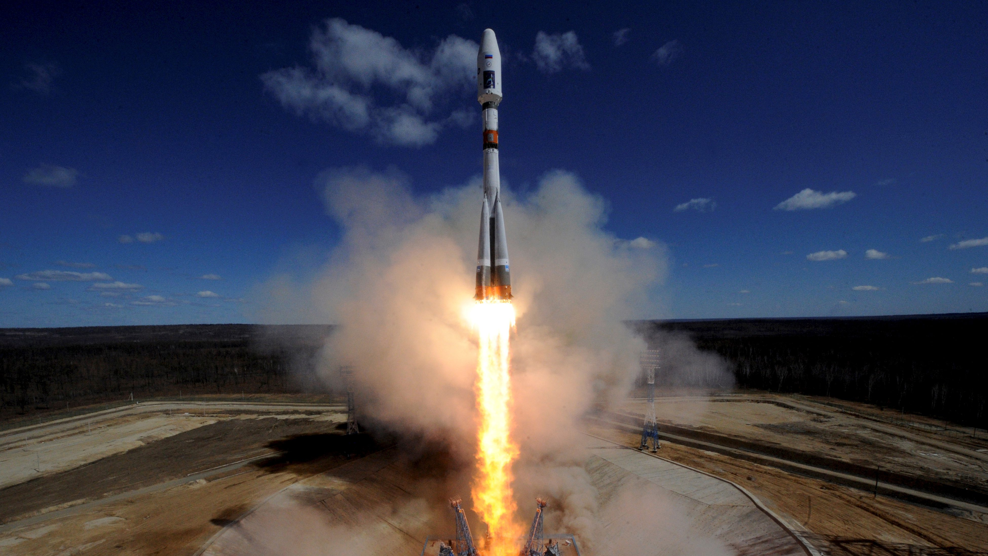A Russian Soyuz 2.1A rocket carrying Lomonosov, Aist-2D and SamSat-218 satellites lifts off from the launch pad at the new Vostochny cosmodrome outside the city of Uglegorsk, about 200 kms from the city of Blagoveshchensk in the far eastern Amur region, Russia April 28, 2016.