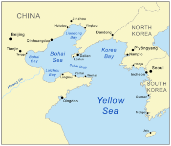 The Yellow Sea, between China and the Korean peninsula.