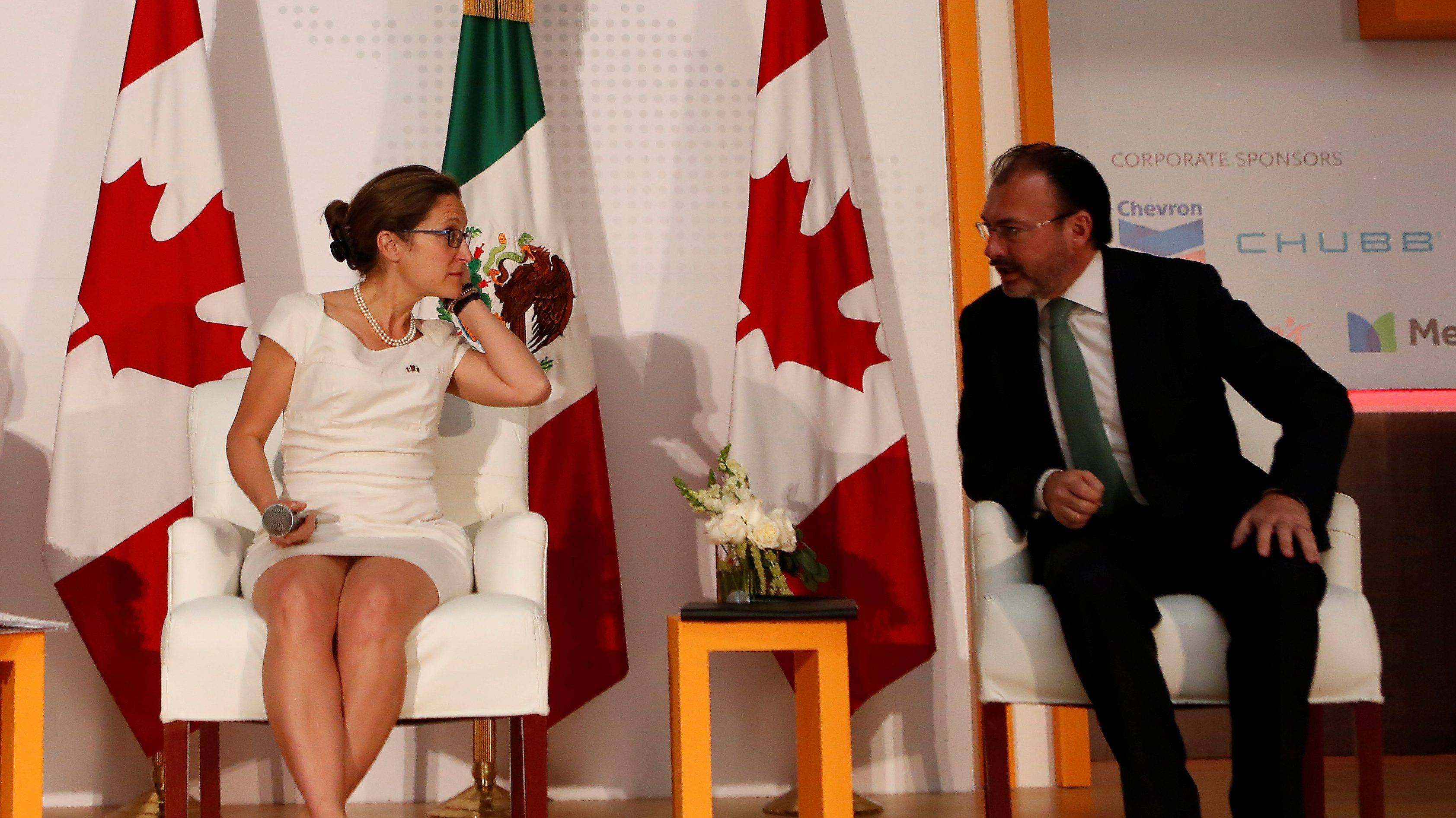 Canada's Foreign Minister Chrystia Freeland and her Mexican counterpart Luis Videgaray