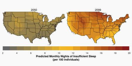 Map showing how climate change is affecting sleep in the US