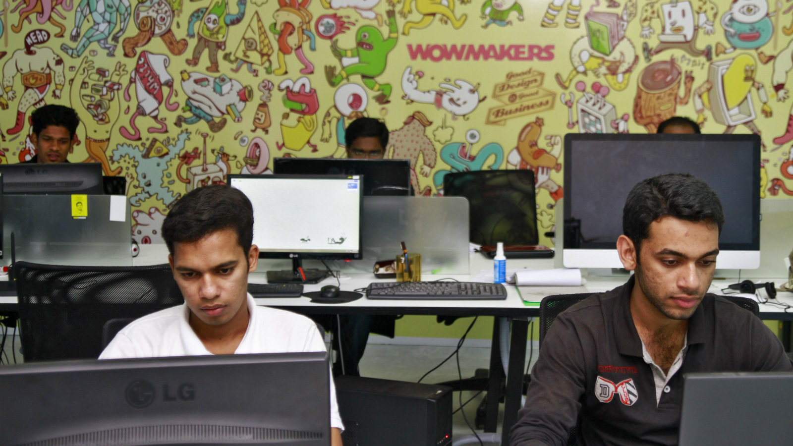 Design artists work on their computer terminals at the Start-up Village in Kinfra High Tech Park in the southern Indian city of Kochi October 13, 2012. Three decades after Infosys, India's second-largest software service provider, was founded by middle-class engineers, the country has failed to create an enabling environment for first-generation entrepreneurs. Startup Village wants to break the logjam by helping engineers develop 1,000 Internet and mobile companies in the next 10 years. It provides its members with office space, guidance and a chance to hobnob with the stars of the tech industry. But critics say this may not even be the beginning of a game-changer unless India deals with a host of other impediments - from red tape to a lack of innovation and a dearth of investors - that are blocking entrepreneurship in Asia's third-largest economy. To match Feature INDIA-TECHVILLAGE/ Picture taken October 13, 2012.