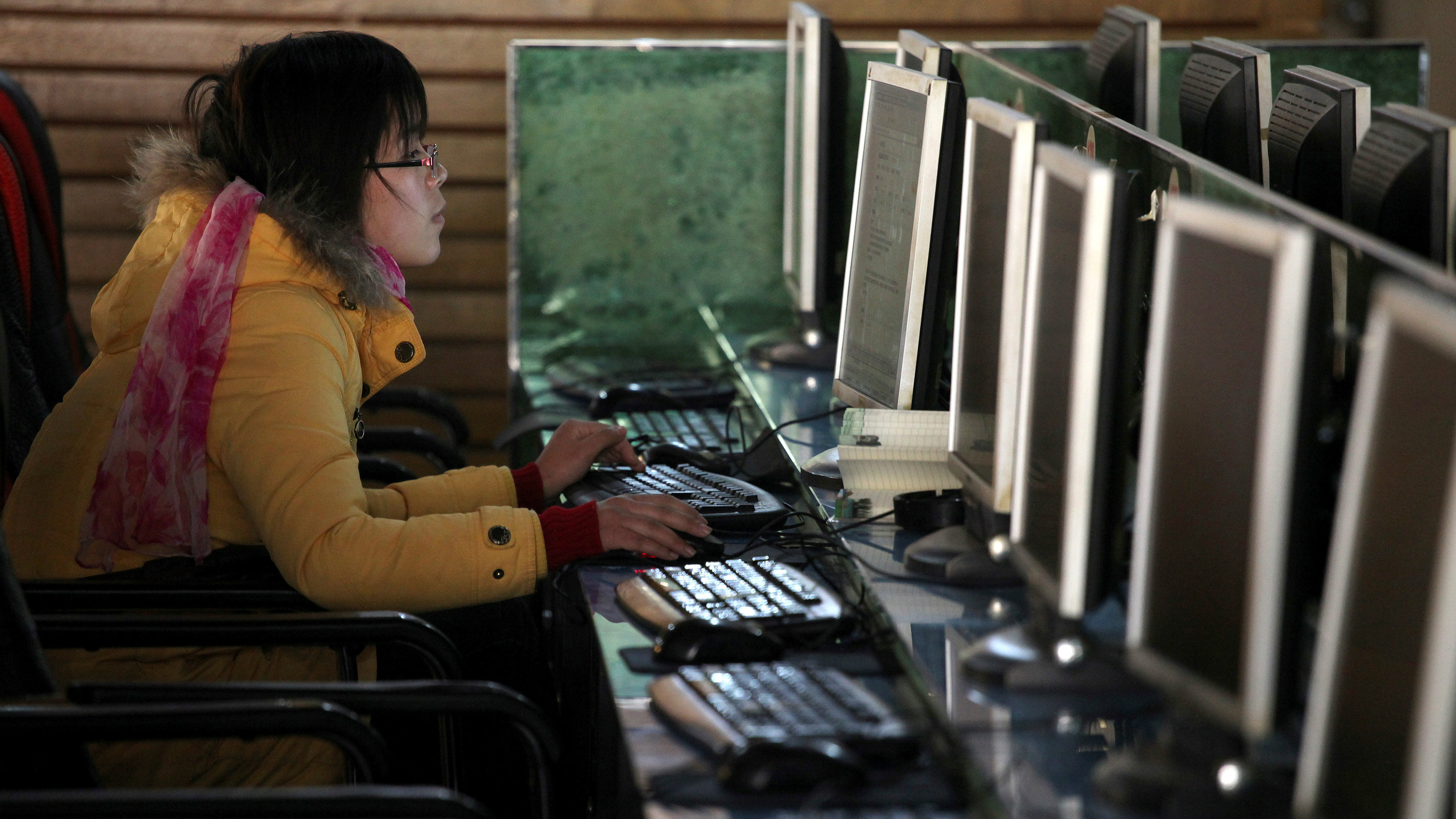 A woman uses a computer in an internet cafe at the centre of Shanghai, China January 13, 2010.