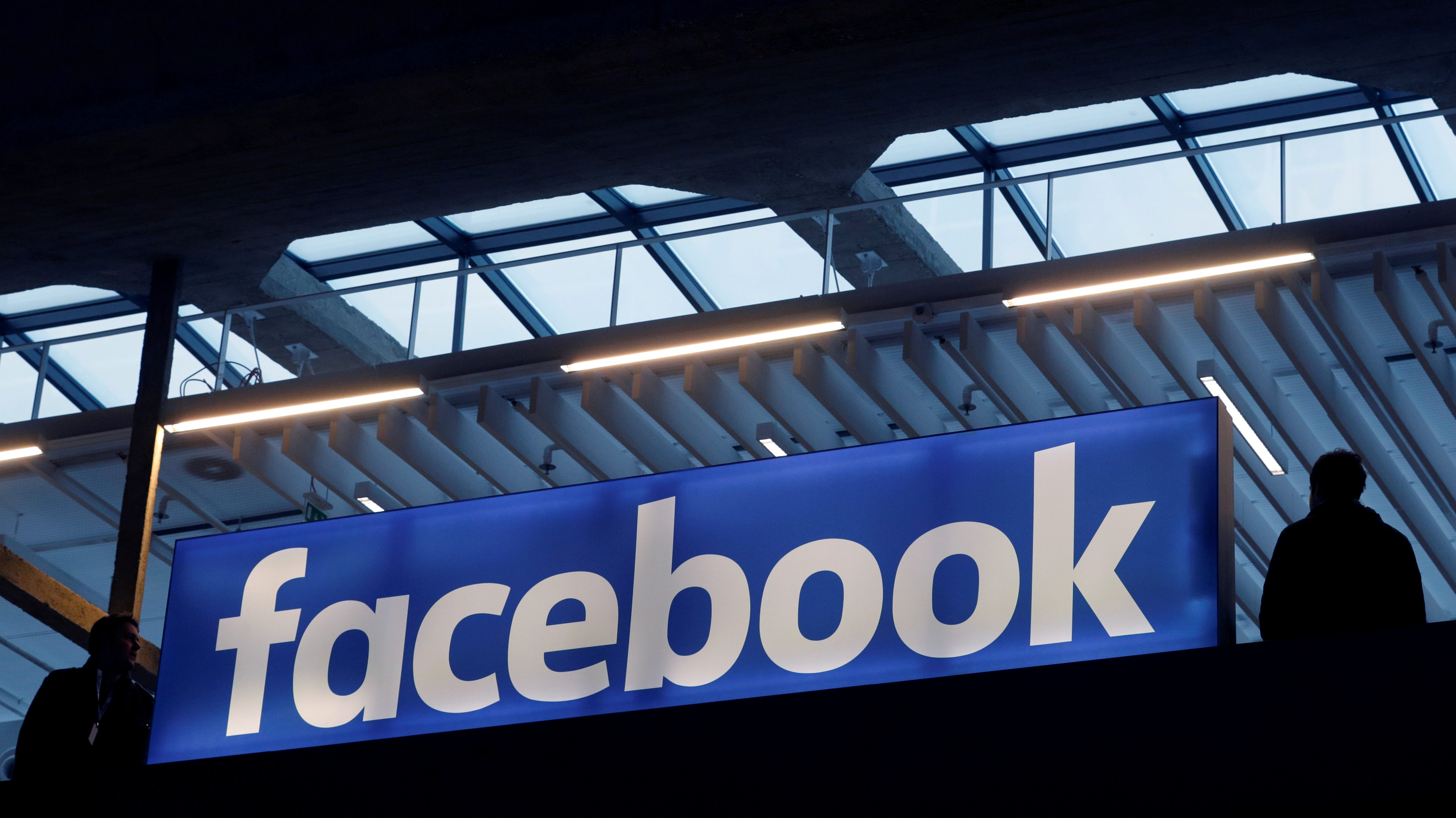 FILE PHOTO: Facebook logo is seen  at a start-up companies gathering at Paris' Station F in Paris, France, January 17, 2017.