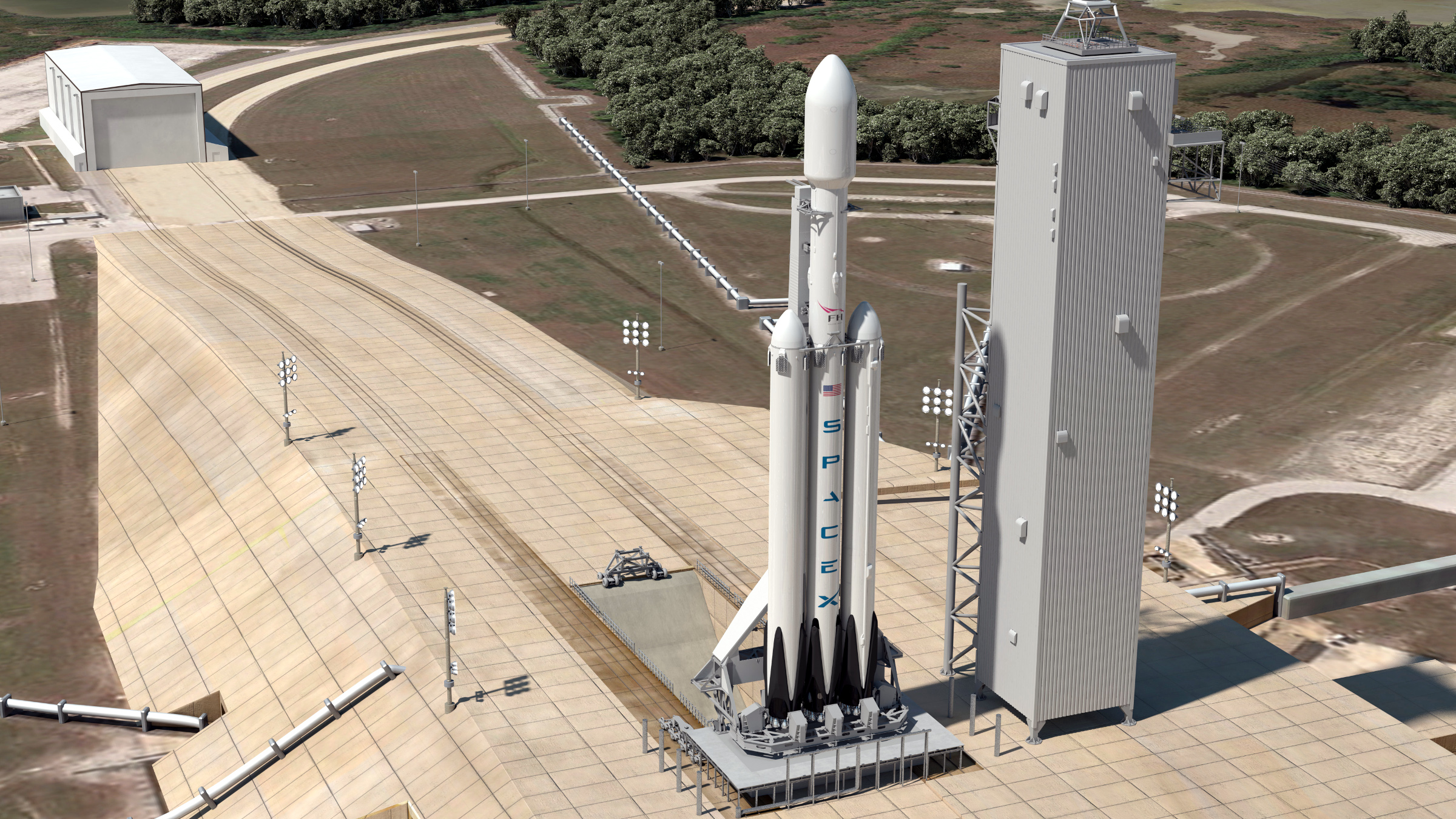 Falcon Heavy rendering SpaceX Elon Musk