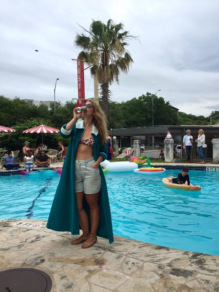 Girl in her bikini at a pool party