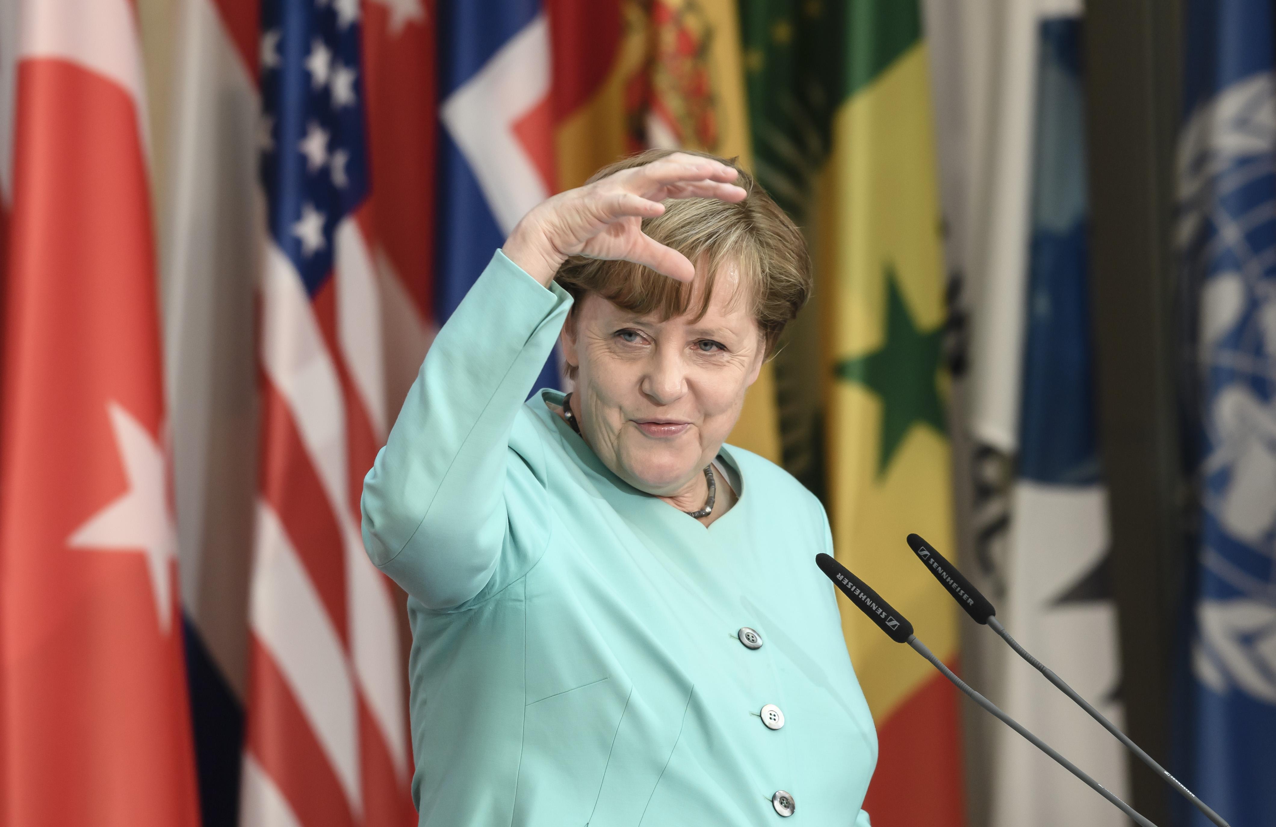 German Chancellor Angela Merkel speaks during the G20 Health Minister's Meeting in Berlin, Germany, 19 May 2017.