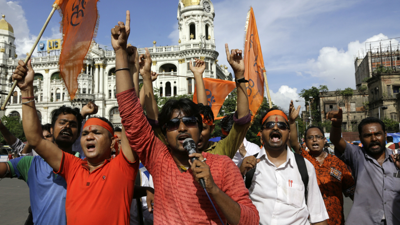 Activists of Hindu Jagaran Manch, a Hindu right wing organization promoting indigenous products, shout slogans during a protest rally against alleged persecution of Hindu minorities in Bangladesh, in Kolkata, India, Thursday, June 30, 2016. Hindu community leaders in Bangladesh have expressed fears as a growing sense of insecurity has forced many to take refuge in neighboring India, according to news reports.