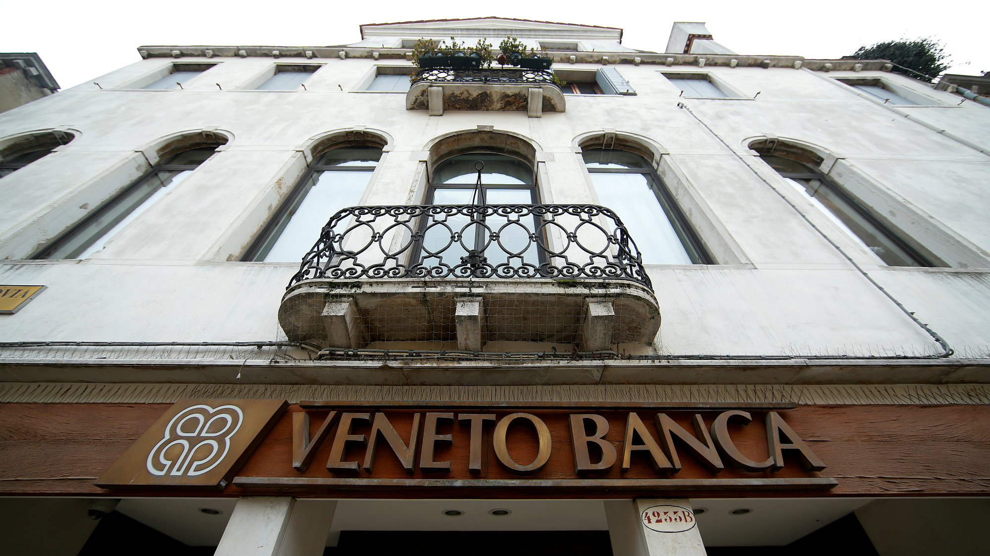 The logo of Veneto Banca bank is seen in Venice, Italy, January 31 2016.