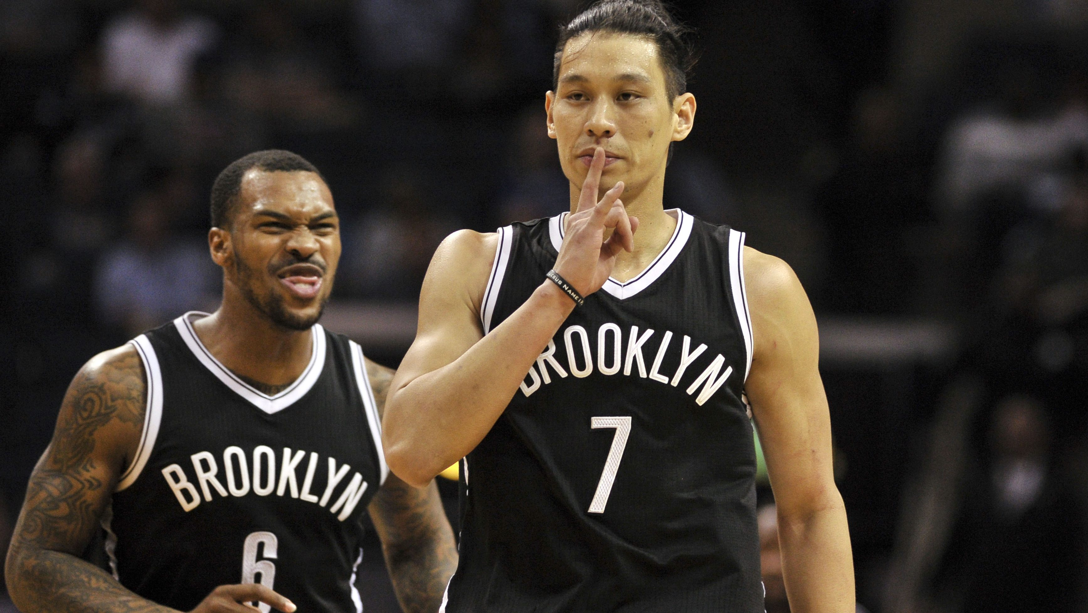 Mar 6, 2017; Memphis, TN, USA; Brooklyn Nets guard Jeremy Lin (7) and guard Sean Kilpatrick (6) celebrate during the second half against the Memphis Grizzlies at FedExForum. Brooklyn defeated Memphis 122-109. Mandatory Credit: Justin Ford-USA TODAY Sports - RTS11Q54