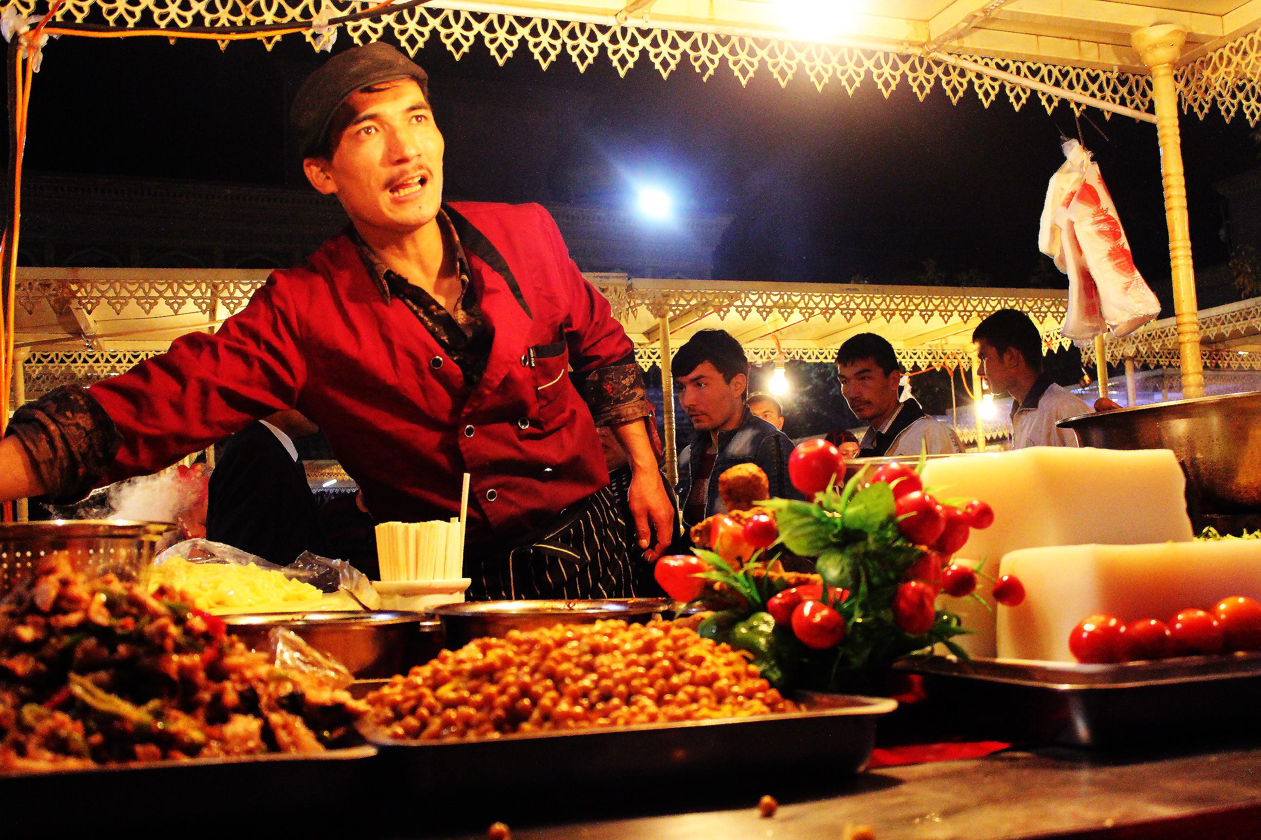 At the night market in Kashgar, China.