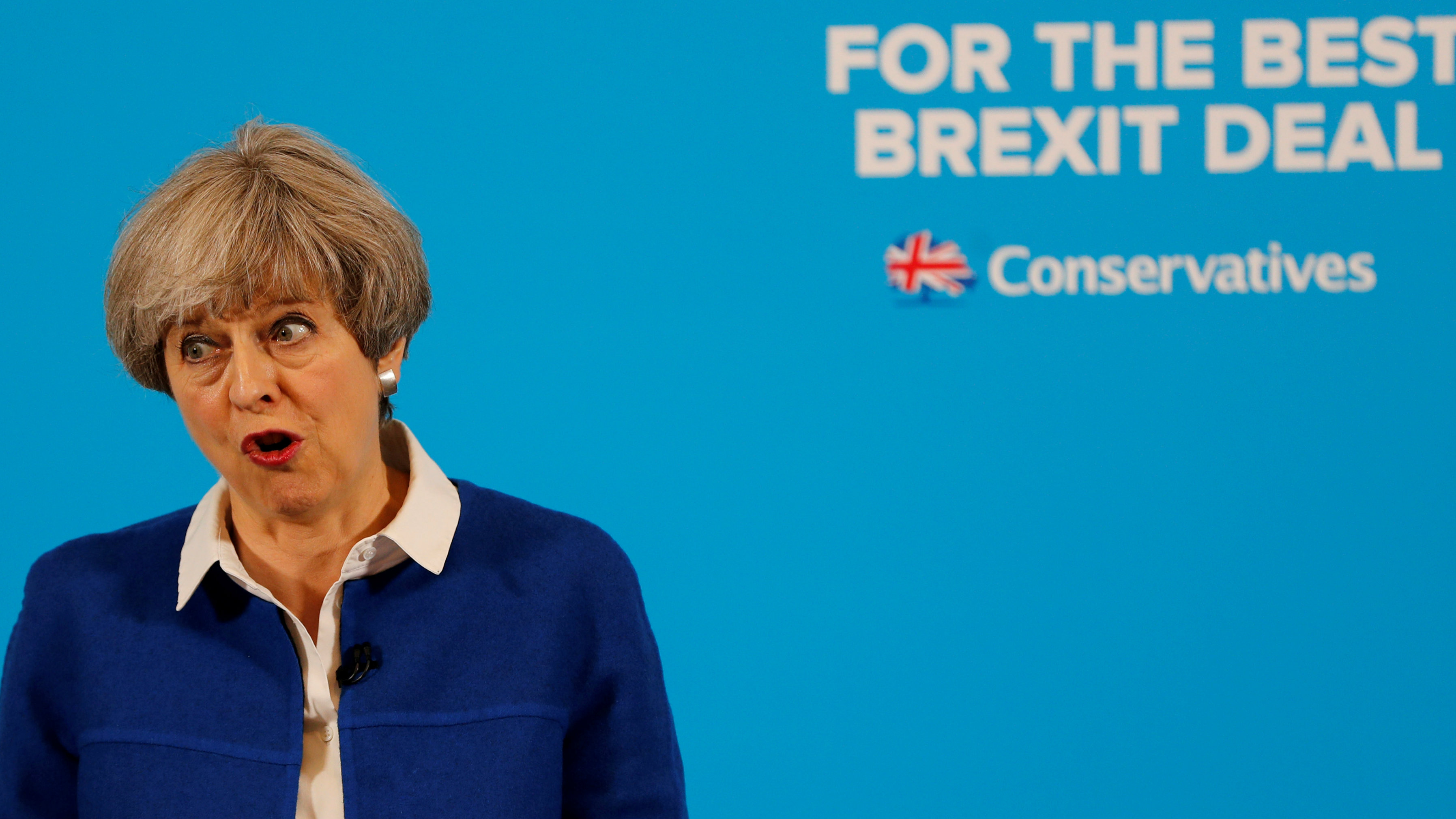 British Prime Minster Theresa May at a campaign event