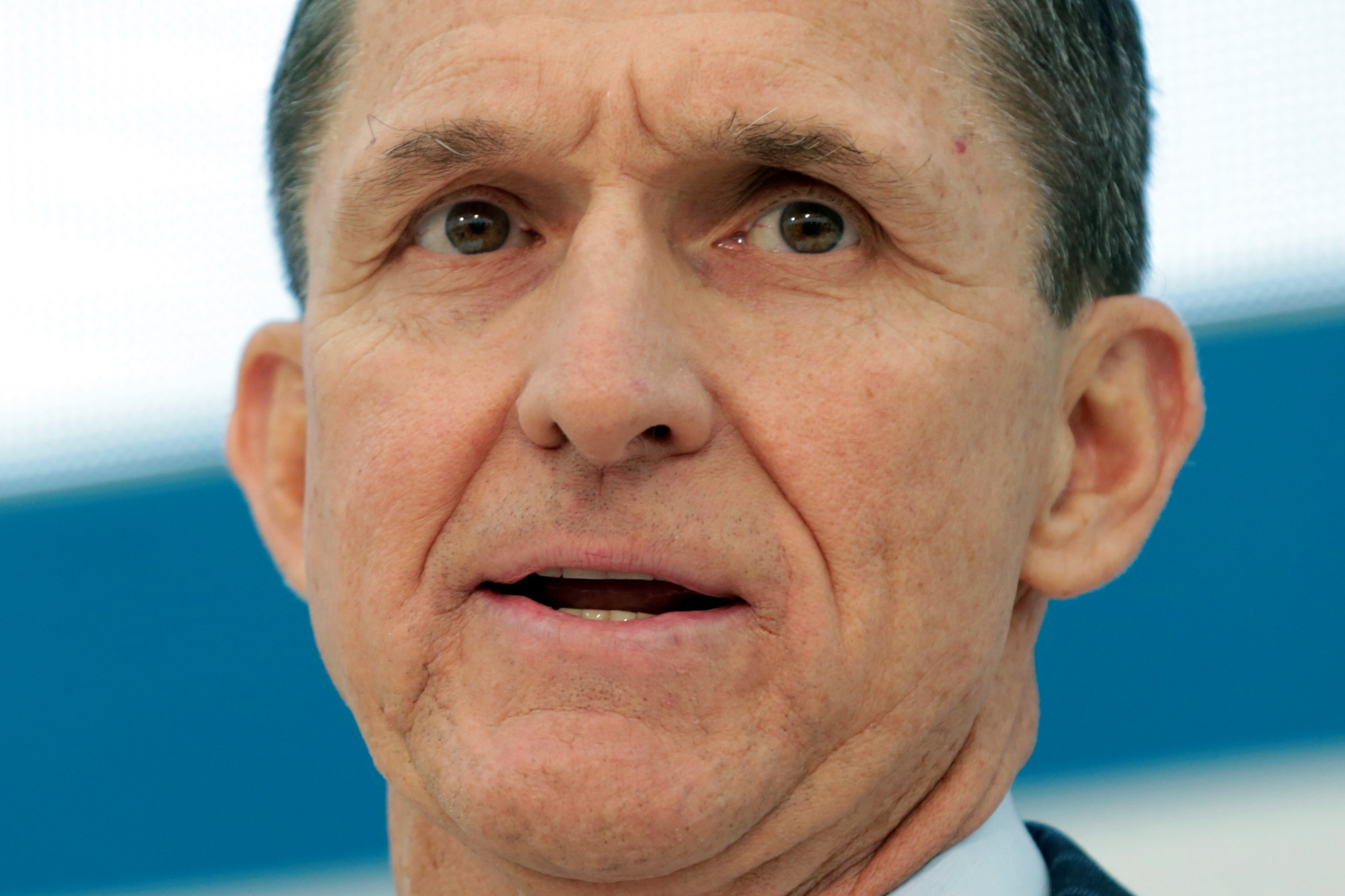 """Former Defense Intelligence Agency Director retired Army Lt. Gen. Michael Flynn, incoming White House national security adviser, speaks at the U.S. Institute of Peace """"2017 Passing the Baton"""" conference in Washington"""