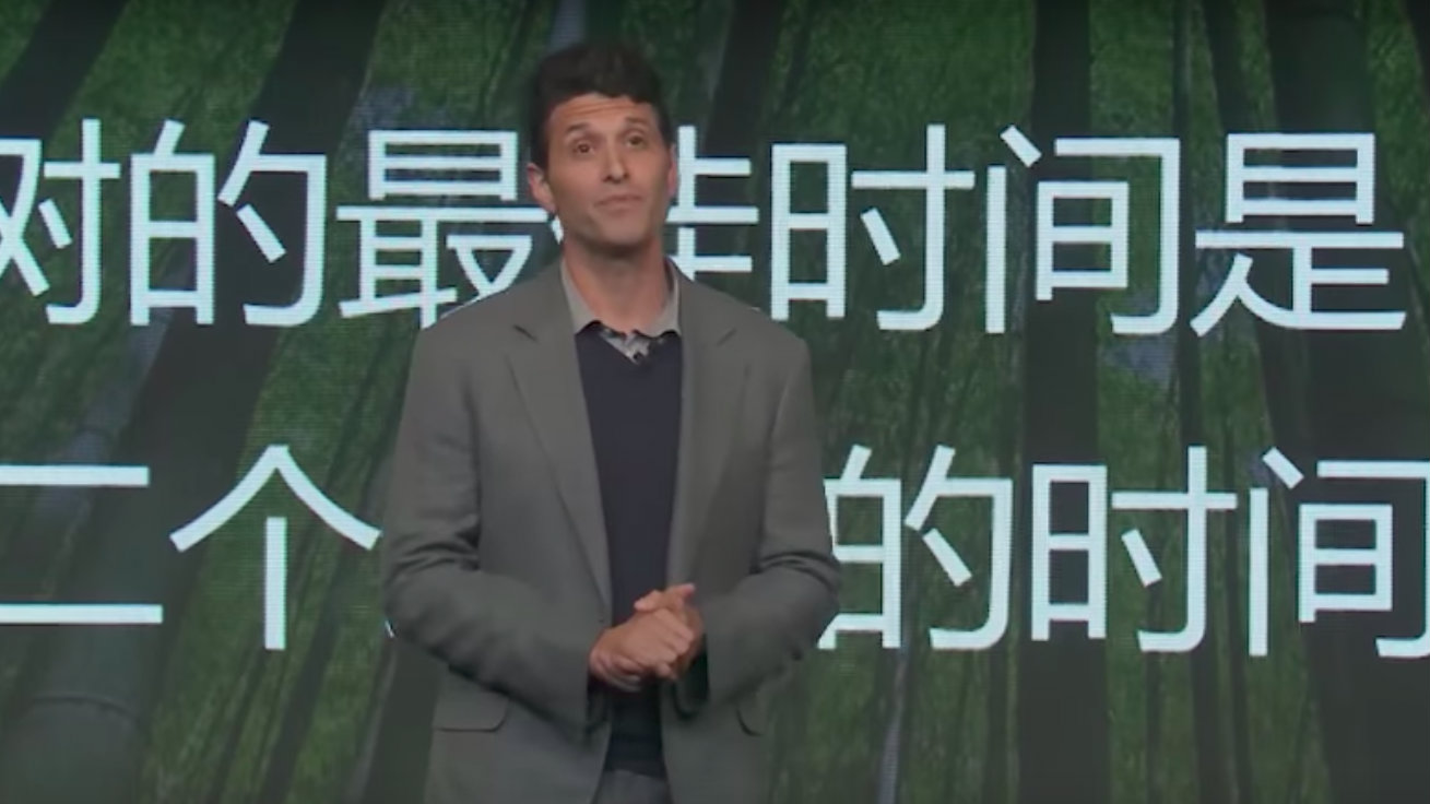 Microsoft's Terry Myerson at a Microsoft launch event in Shanghai.
