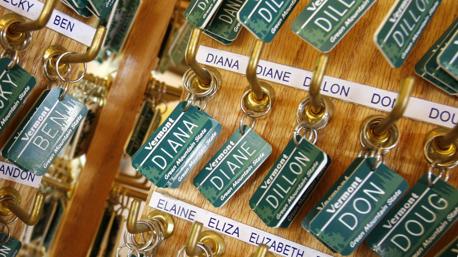 FILE - In this May, 2008 file photo, luggage tags with children's names are displayed in East Montpelier, Vt.  Jacob and Sophia top the list of most popular baby names again. It's Jacob's 14th straight year at the top and the second year in a row for Sophia.  (AP Photo/Toby Talbot)