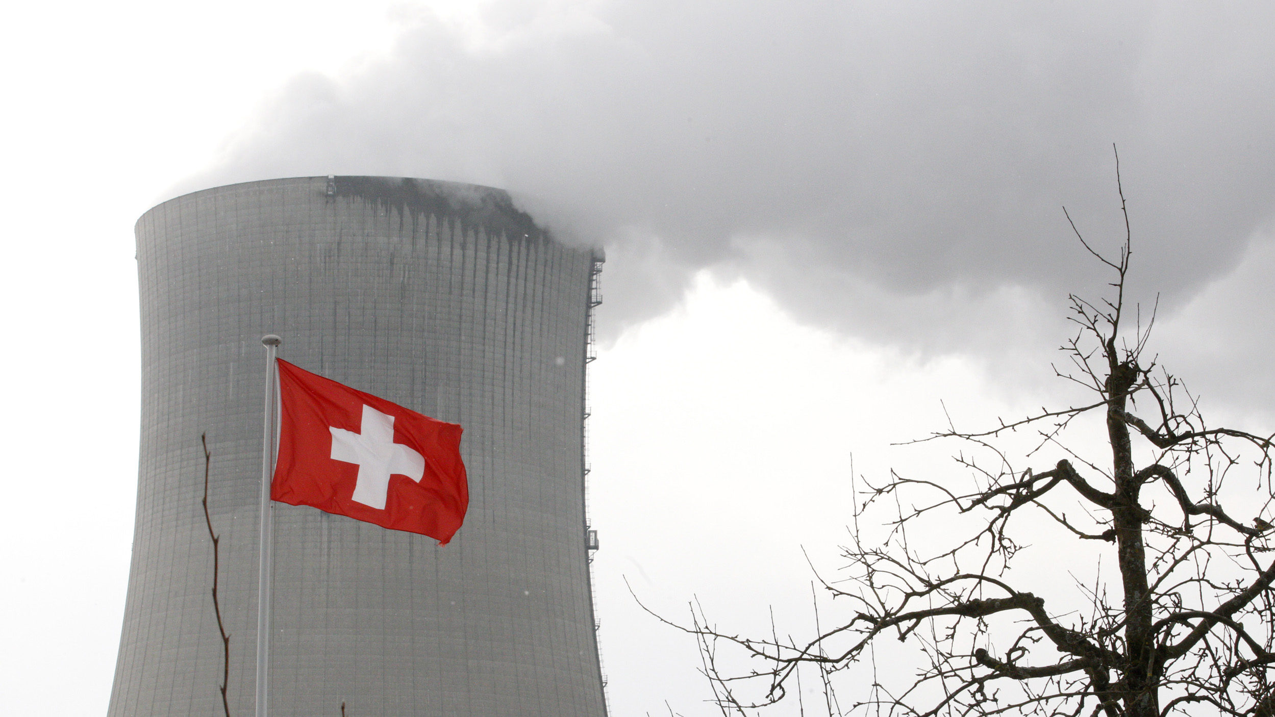 A Swiss flag flies in front of the cooling tower of Goesgen's nuclear power plant, February 10, 2012.  REUTERS/Christian Hartmann (SWITZERLAND - Tags: ENERGY ENVIRONMENT POLITICS) - RTR2XLFL