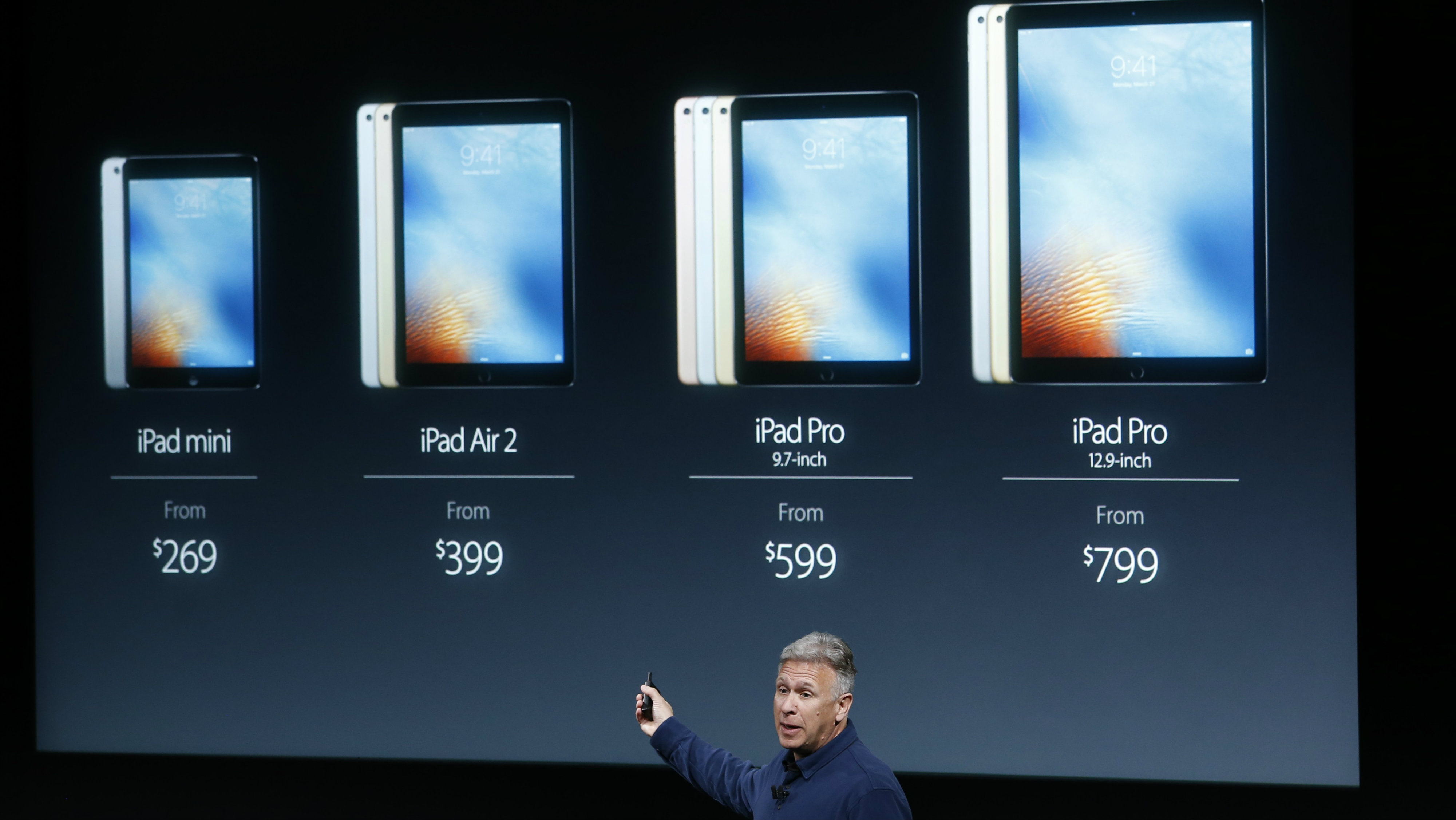 Phil Schiller, senior VP of worldwide marketing for Apple, introduces the iPad line during an event at the Apple headquarters in Cupertino, California March 21, 2016. REUTERS/Stephen Lam
