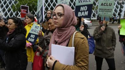 protest against president Trumps travel ban
