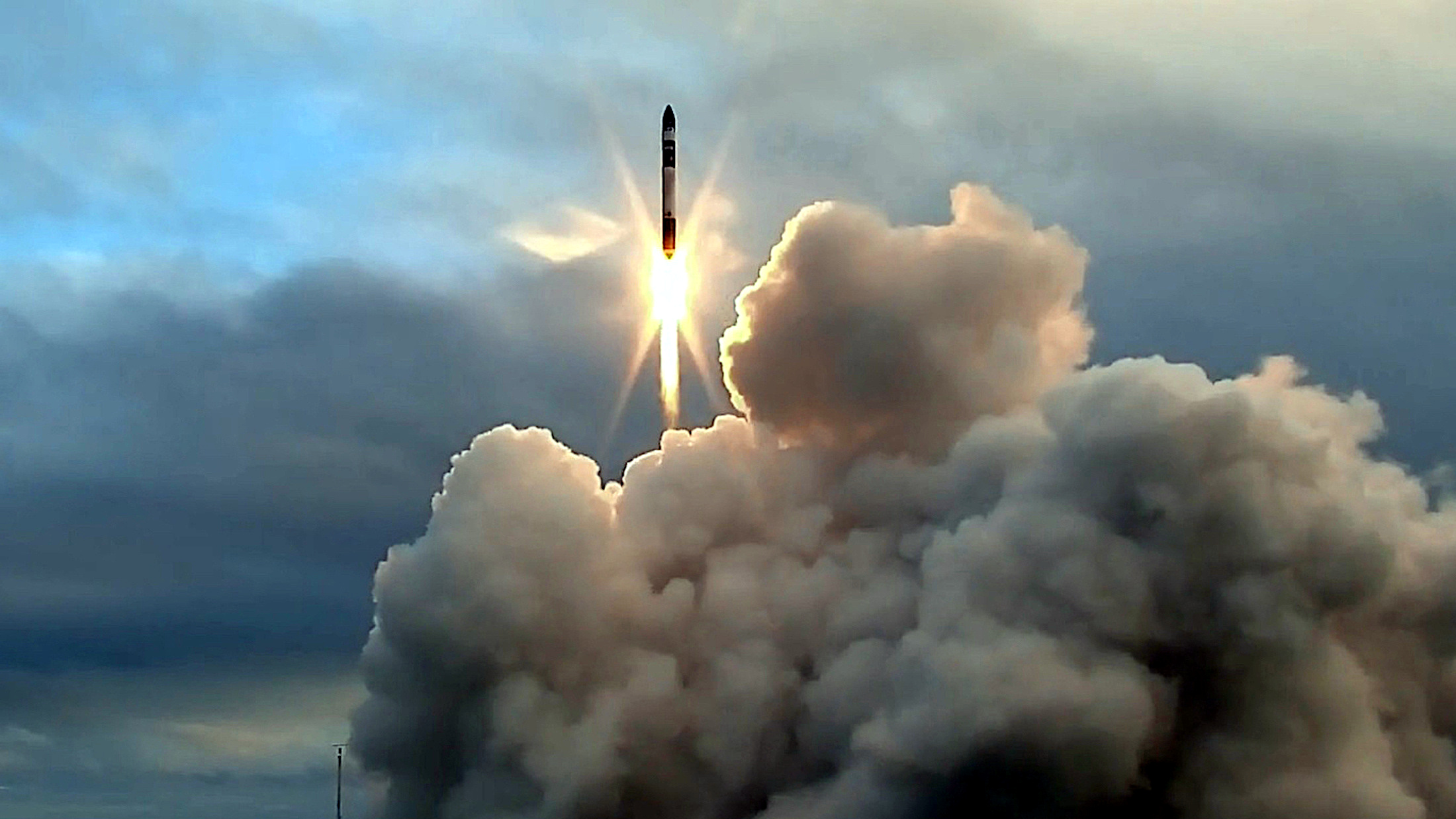 A supplied image of the launch and maiden flight of a battery-powered, 3-D printed rocket built by Rocket Lab, a Silicon Valley-funded space launch company, at New Zealand's remote Mahia Peninsula, May 25, 2017.
