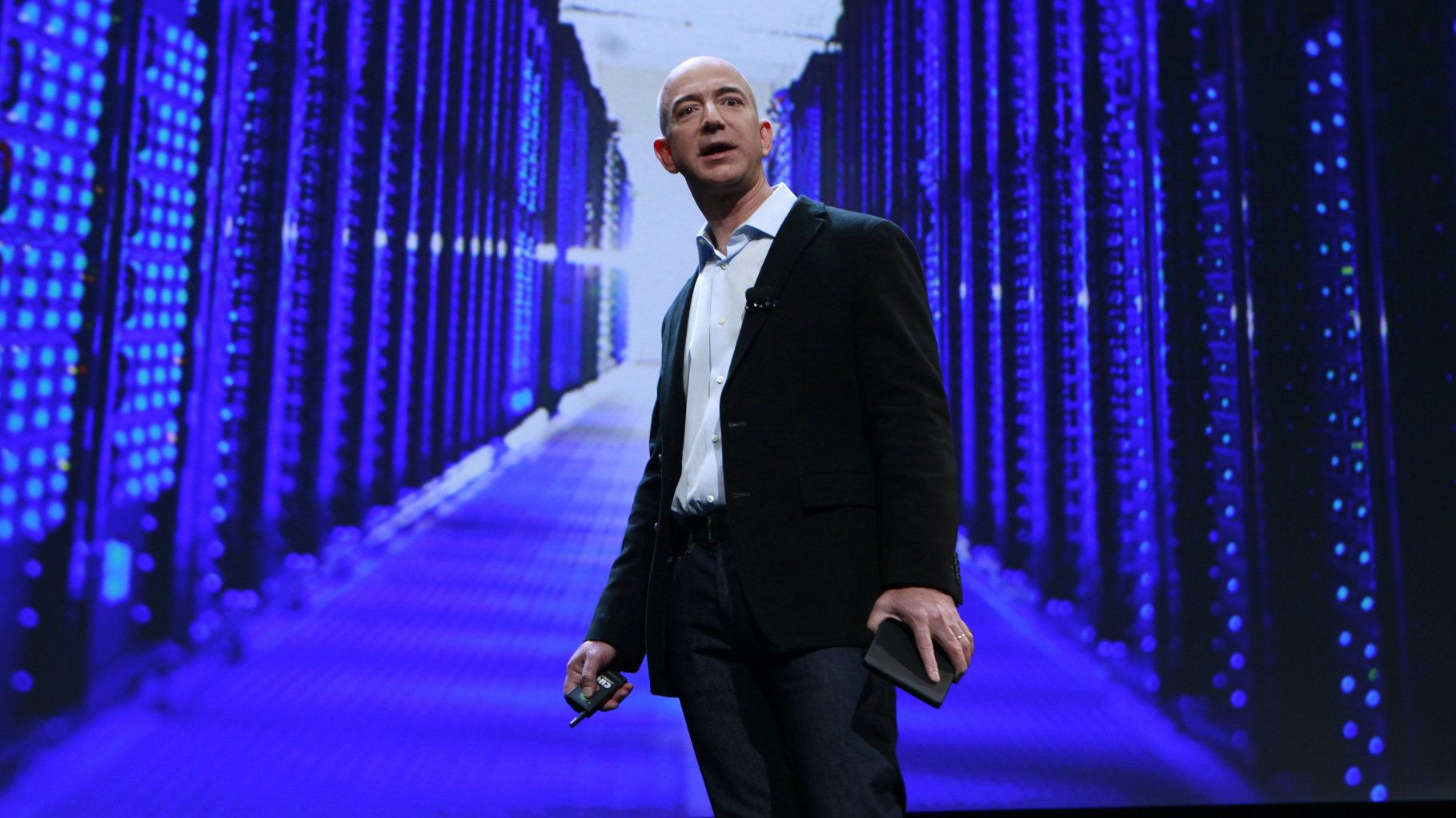 Jeff Bezos of Amazon delivers a speech