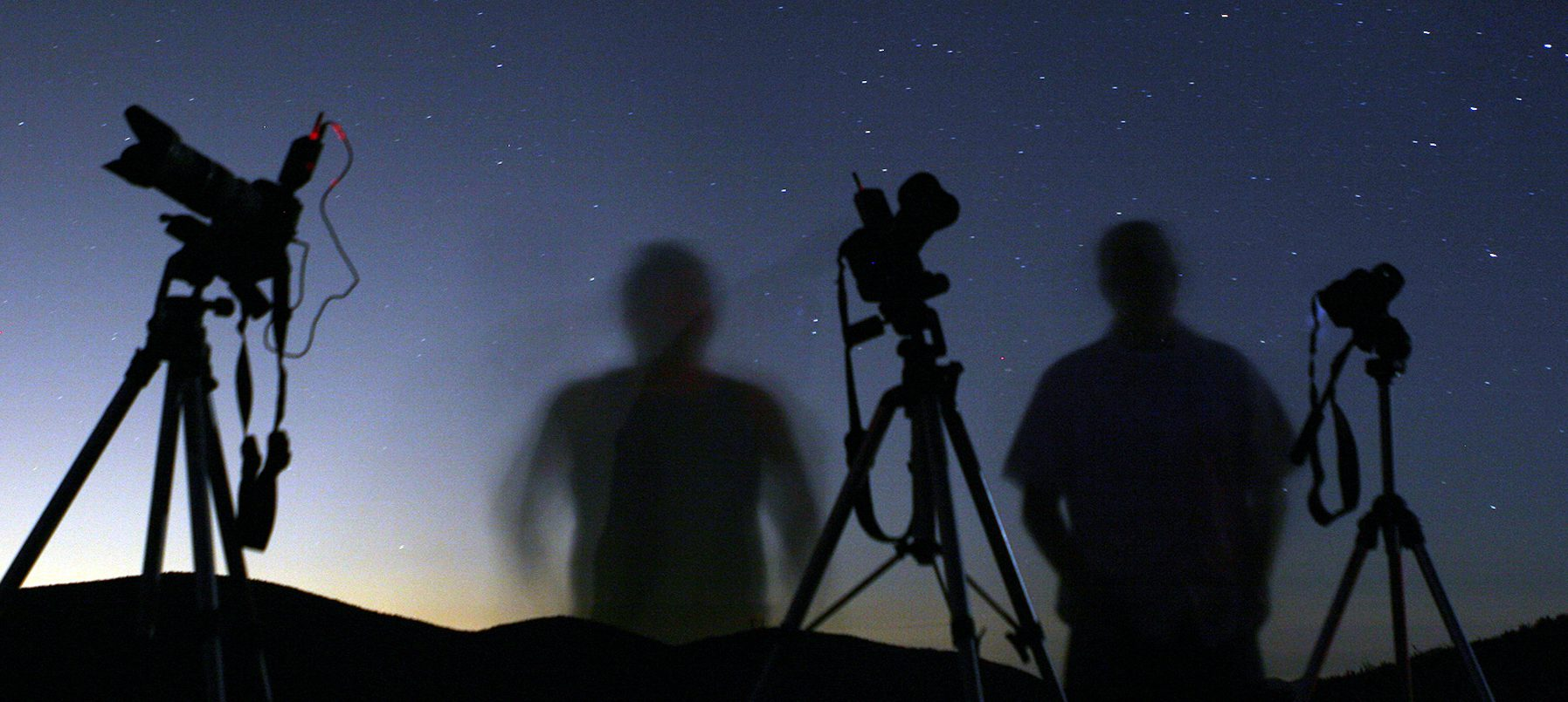 Photographers look into the dark skies to capture a shot during the Perseid Meteor shower in California.