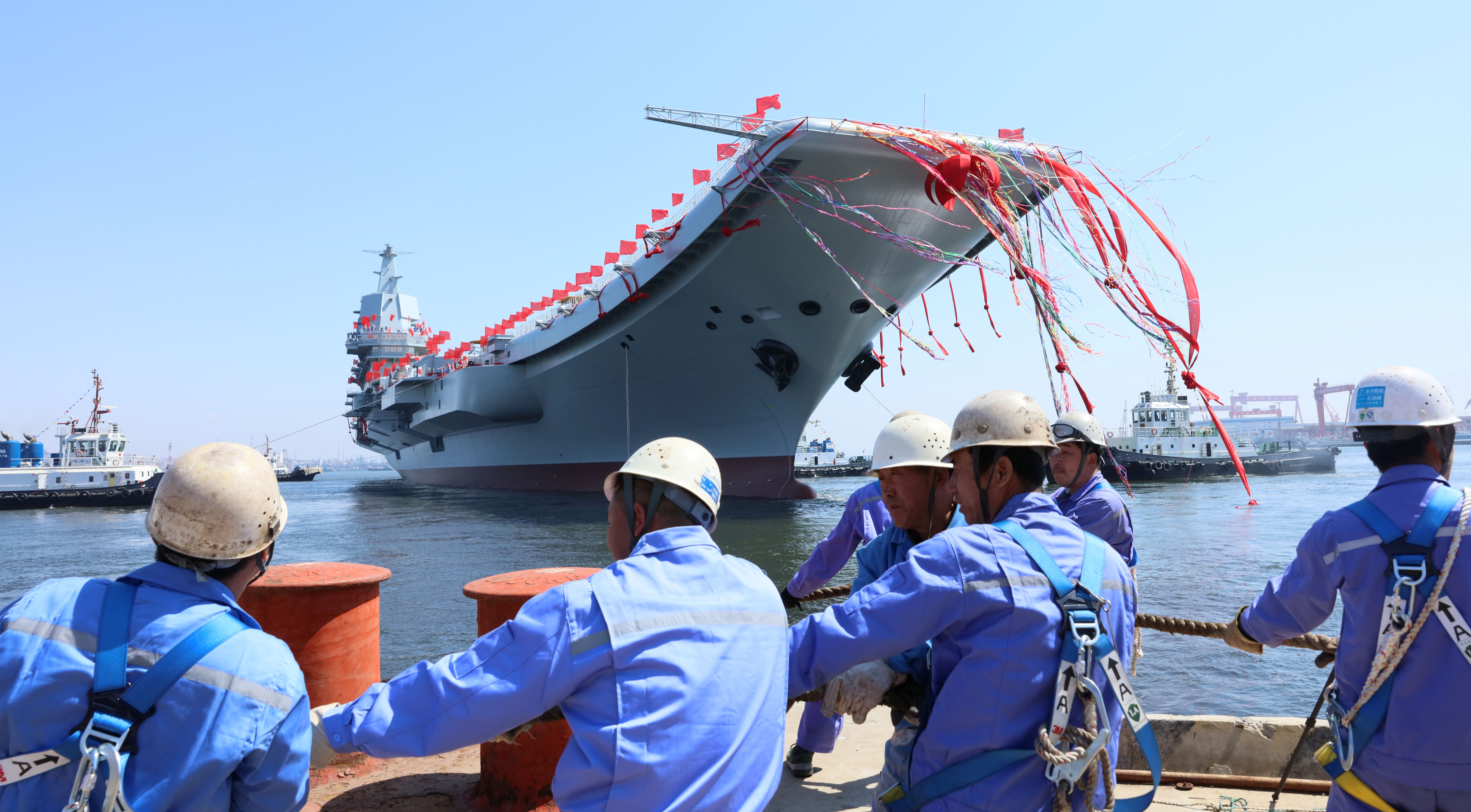 China's first domestically built aircraft carrier is seen during its launching ceremony in Dalian, China April 26, 2017.