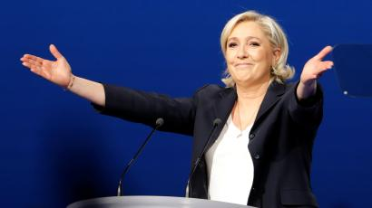 Marine Le Pen at a political rally