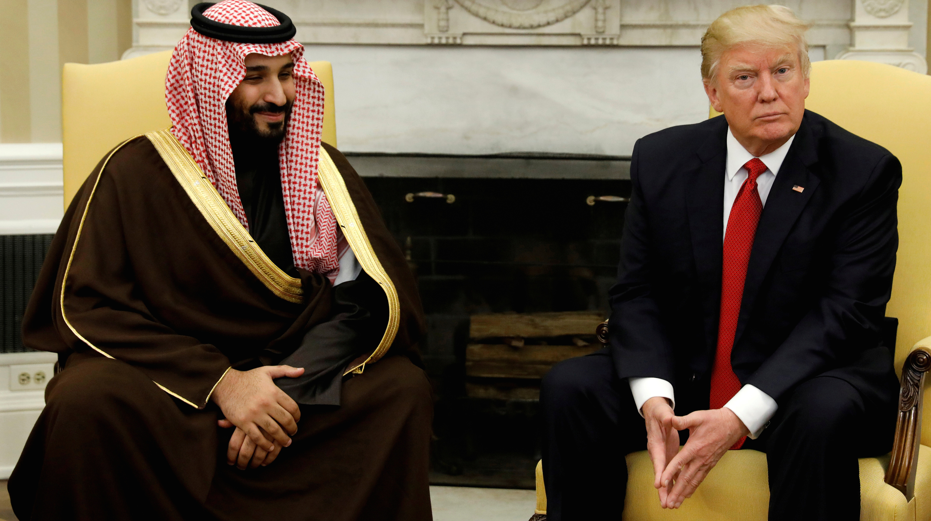 FILE PHOTO: U.S. President Donald Trump meets with Saudi Deputy Crown Prince and Minister of Defense Mohammed bin Salman in the Oval Office of the White House in Washington, U.S., March 14, 2017. REUTERS/Kevin Lamarque/File Photo - RTS14SIT
