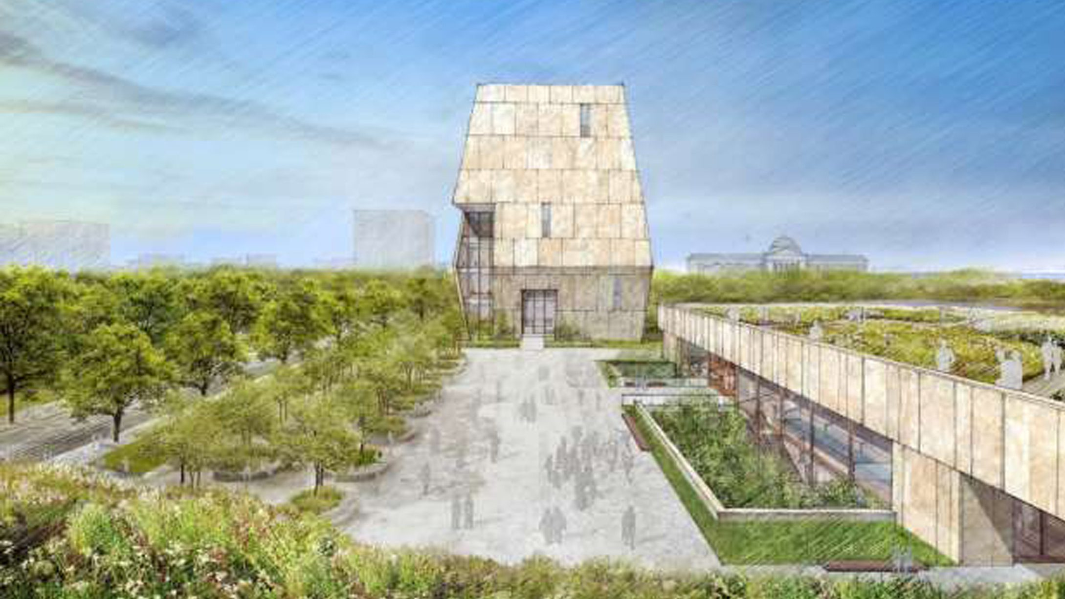 An artist's rendering for the Design of former President Barack Obama Presidential Center to be built in the 500-acre (200-hectare) Jackson Park on Chicago's South Side is shown in Chicago, Illinois, U.S. in this image released on May 3, 2017.   Courtesy Obama Foundation/Handout via REUTERS  ATTENTION EDITORS - THIS IMAGE WAS PROVIDED BY A THIRD PARTY. EDITORIAL USE ONLY. NO RESALES. NO ARCHIVE. - RTS150OP