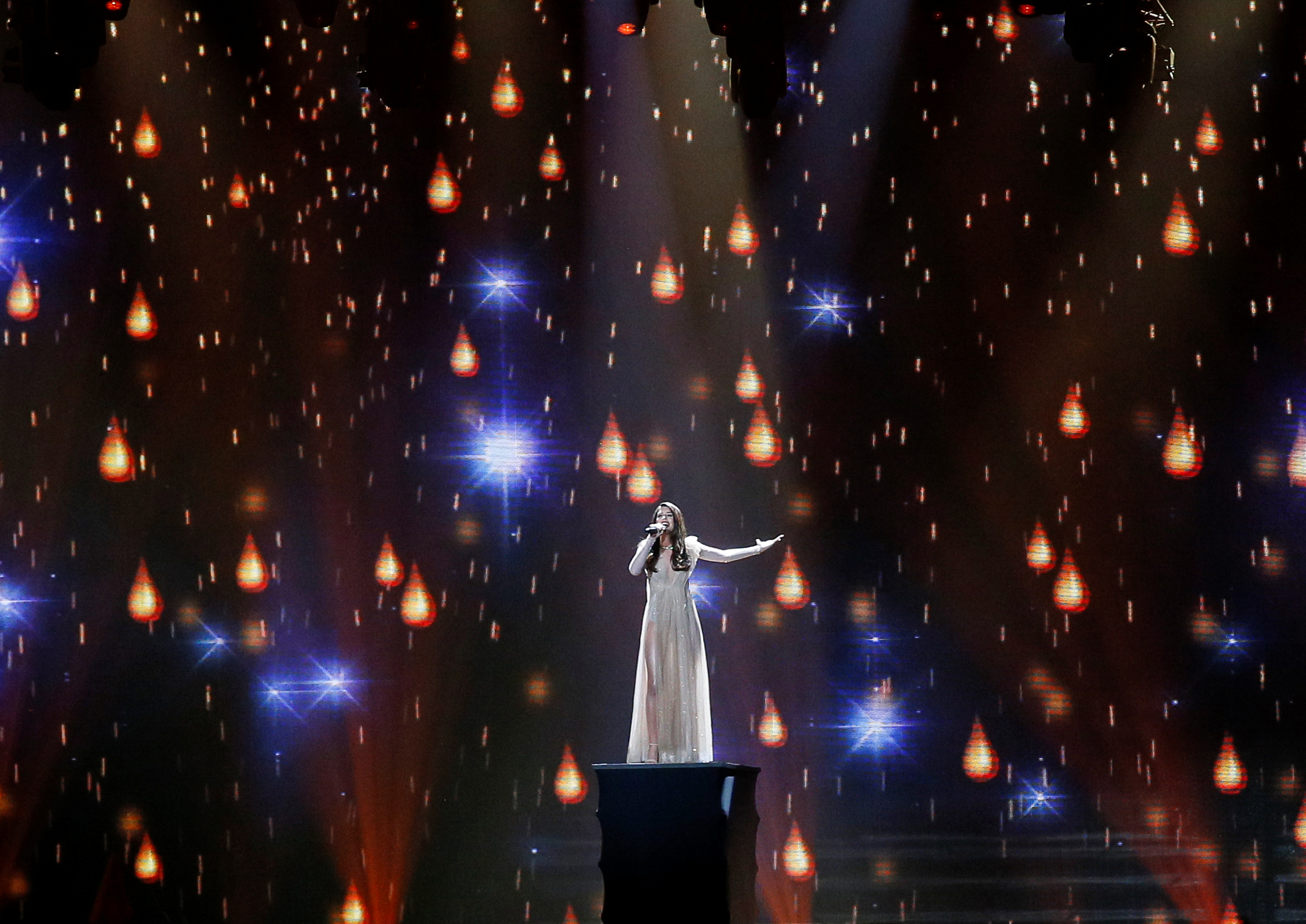 """Greece's Demy performs with the song """"This Is Love"""" during the Eurovision Song Contest 2017 Semi-Final 1 Dress rehearsal 1 at the International Exhibition Centre in Kiev"""