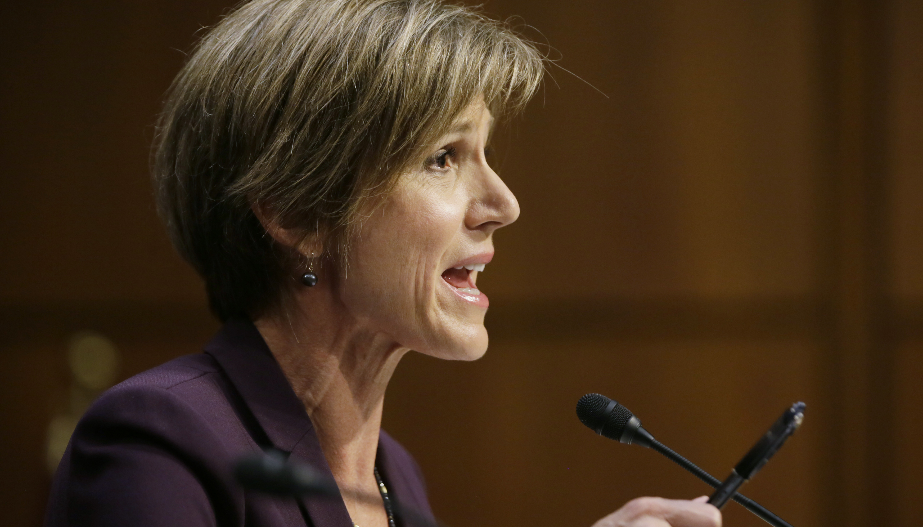 Former Deputy Attorney General Sally Yates testifies before a Senate Judiciary Committee hearing on ìRussian interference in the 2016 U.S. electionî on Capitol Hill in Washington, U .S., May 8, 2017. REUTERS/Jim Bourg - RTS15QAL