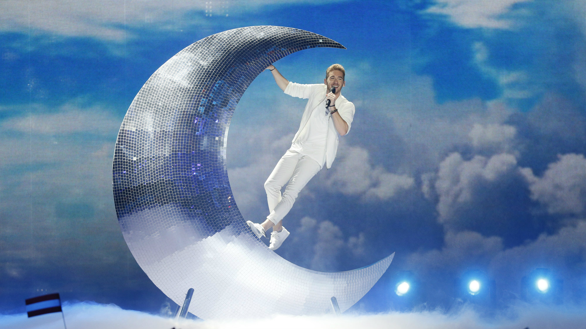 """Austria's Nathan Trent performs the song """"Running On Air"""" during the Eurovision Song Contest 2017 Semi-Final"""