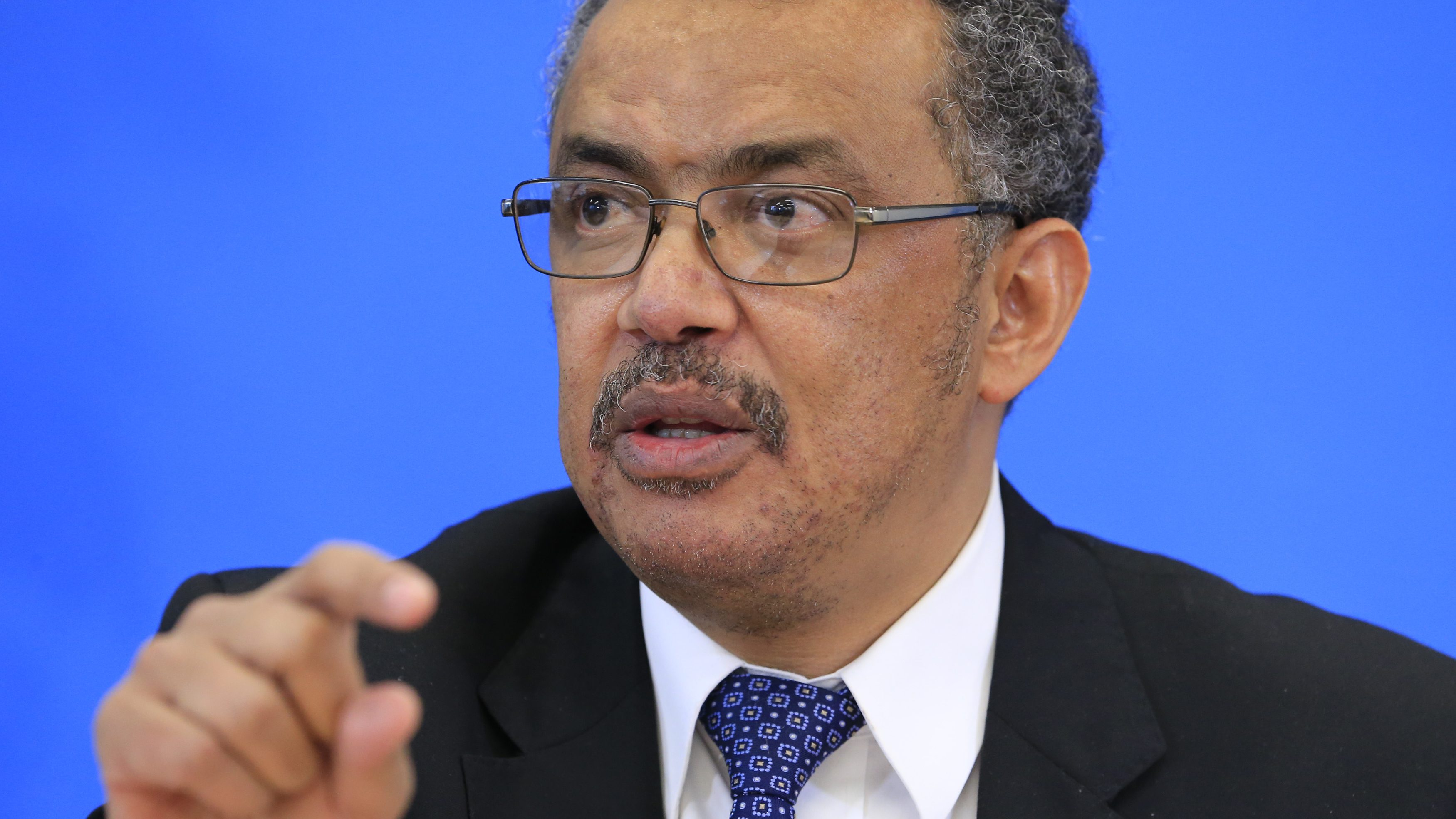 Ghebreyesus candidate for Director General of the WHO attends a news conference in Geneva