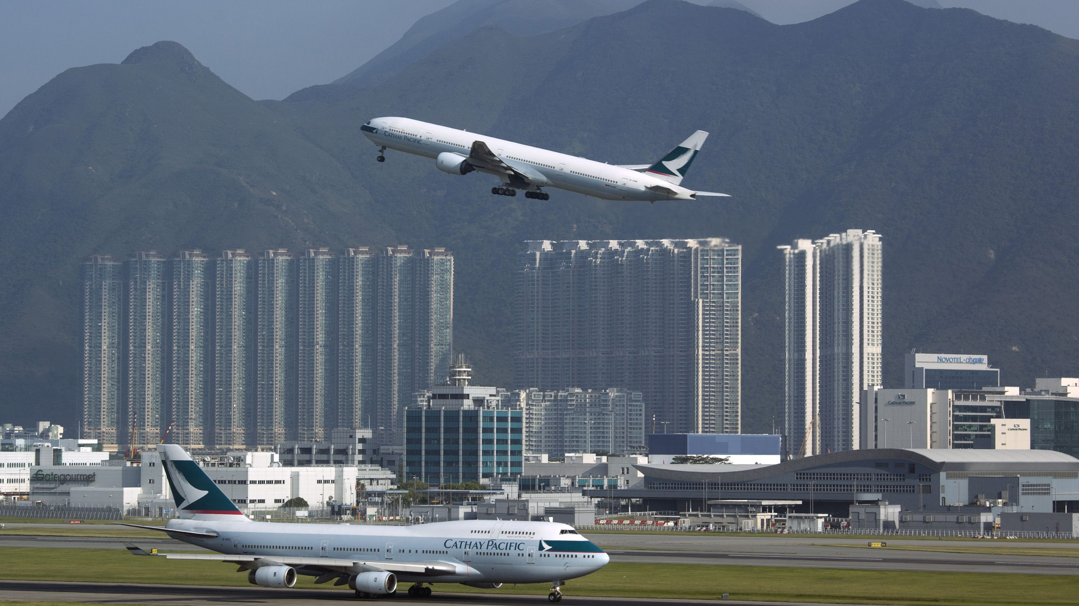 A Cathay Pacific Airways passenger plane takes off at the Hong Kong Airport