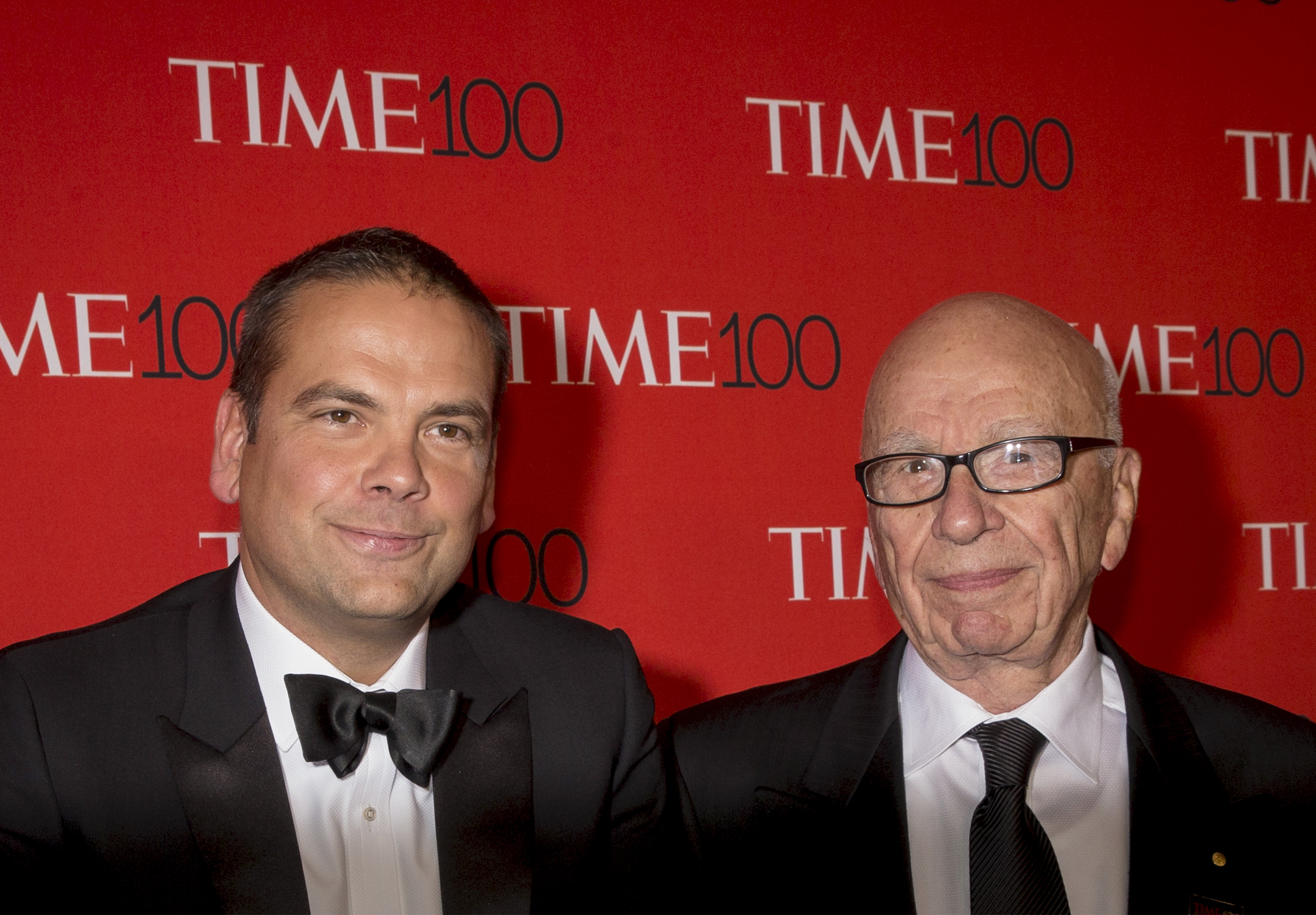 Rupert Murdoch (right) and Lachlan Murdoch arrive for the TIME 100 Gala in New York April 21, 2015.