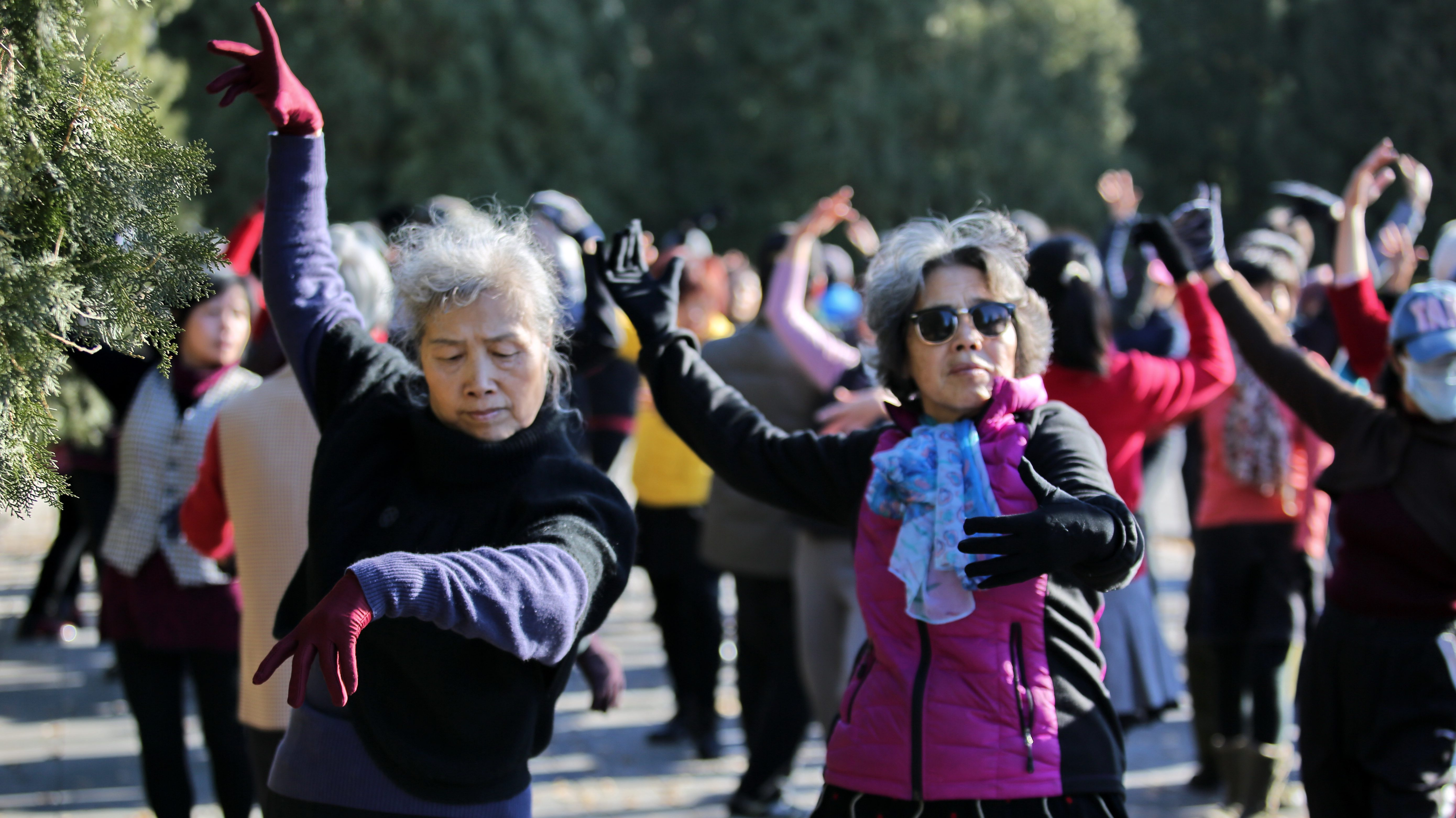 Women dance in a park in Beijing, China December 15, 2015. REUTERS/Stringer ATTENTION EDITORS - THIS PICTURE WAS PROVIDED BY A THIRD PARTY. THIS PICTURE IS DISTRIBUTED EXACTLY AS RECEIVED BY REUTERS, AS A SERVICE TO CLIENTS. CHINA OUT. NO COMMERCIAL OR EDITORIAL SALES IN CHINA. - RTX1YW9H