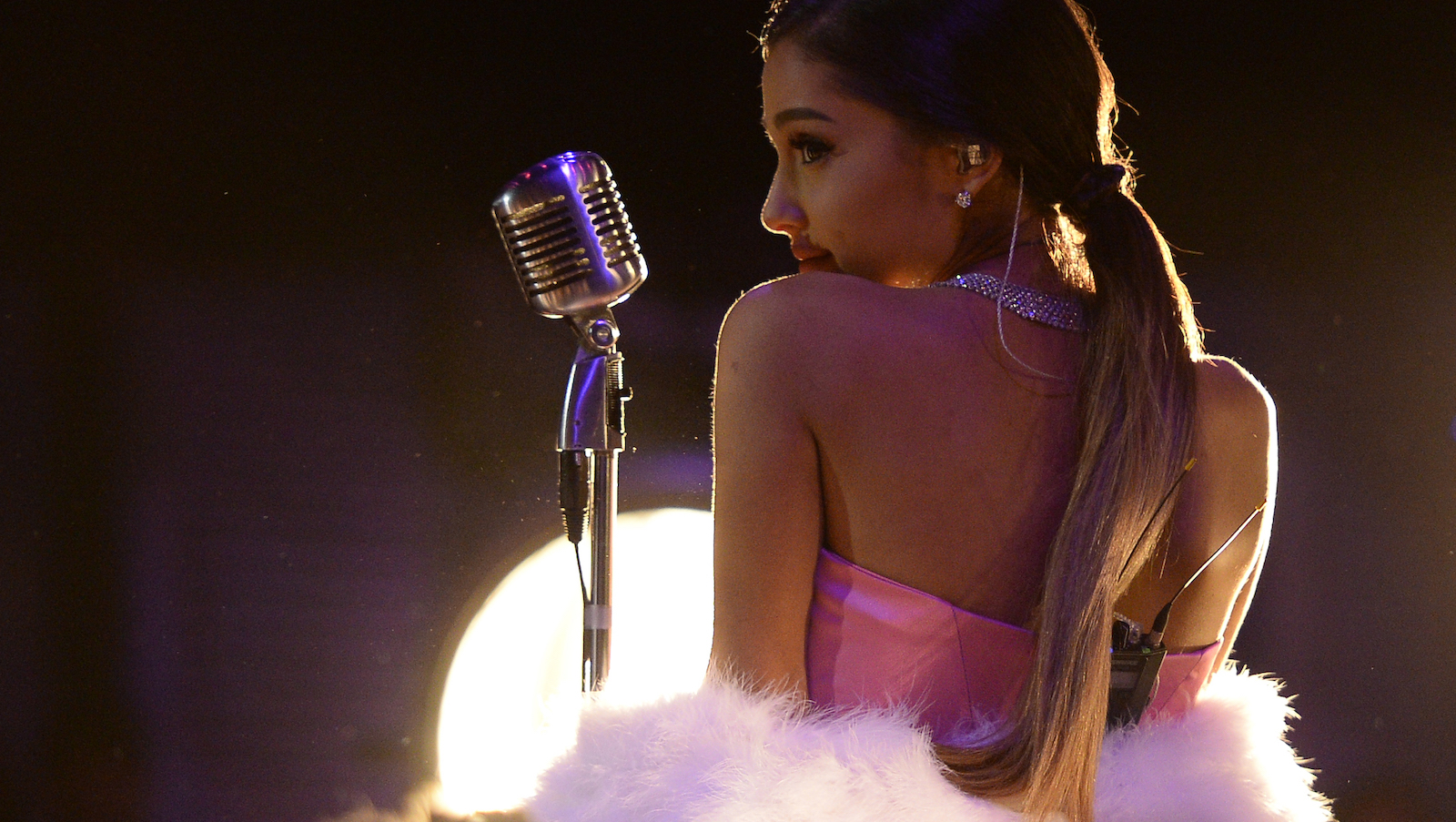 Singer Ariana Grande performs in this pool photo during the 2016 MTV Movie Awards in Los Angeles April 9, 2016 and released April 10, 2016.  REUTERS/Kevork Djansezian/Pool    - RTX29D99