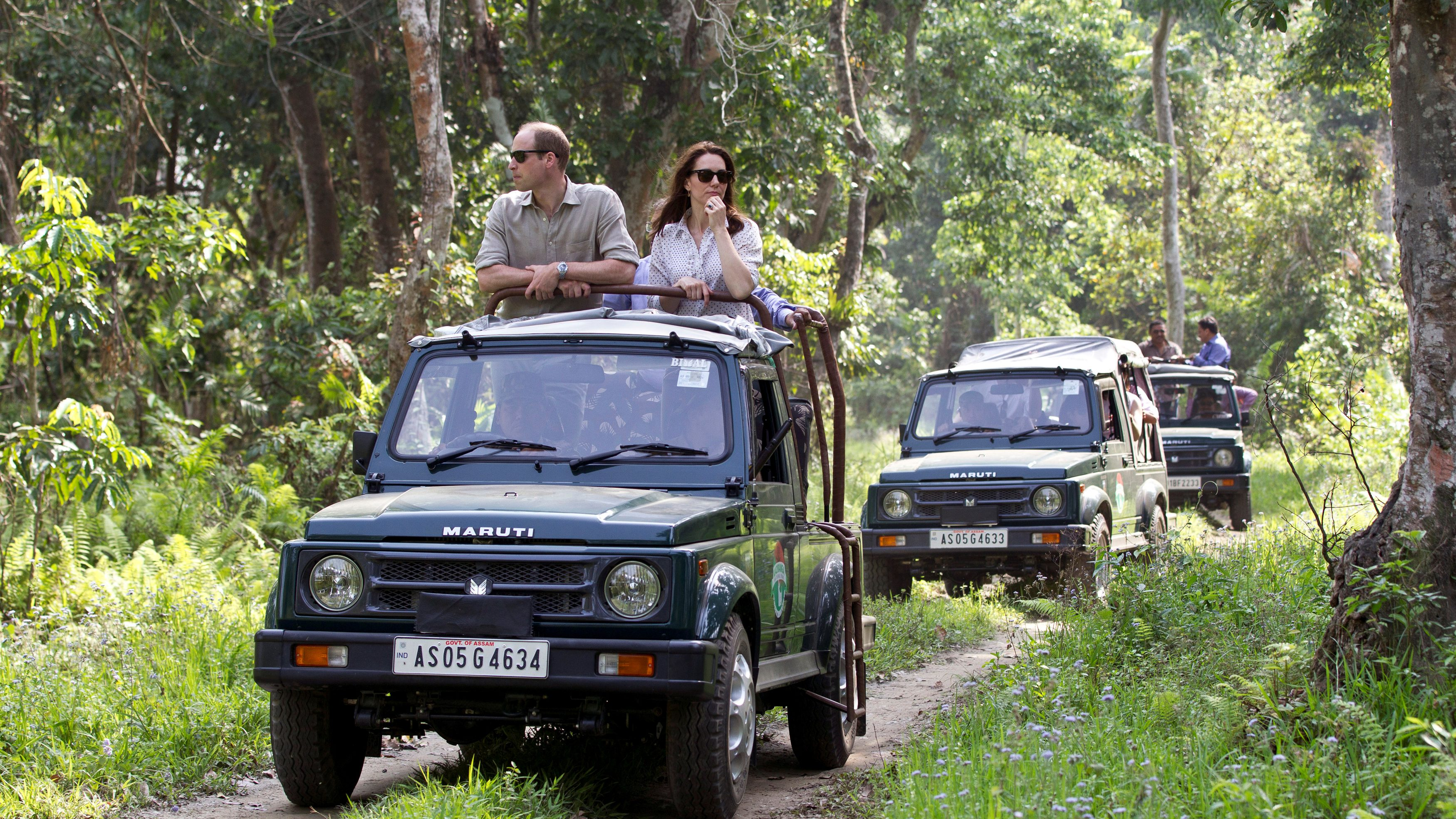 Britain's Prince William and his wife Catherine, the Duchess of Cambridge, are seen on a safari at Kaziranga National Park in the northeastern state of Assam, India, April 13, 2016. REUTERS/Heathcliff O'Malley/Pool - RTX29QPX